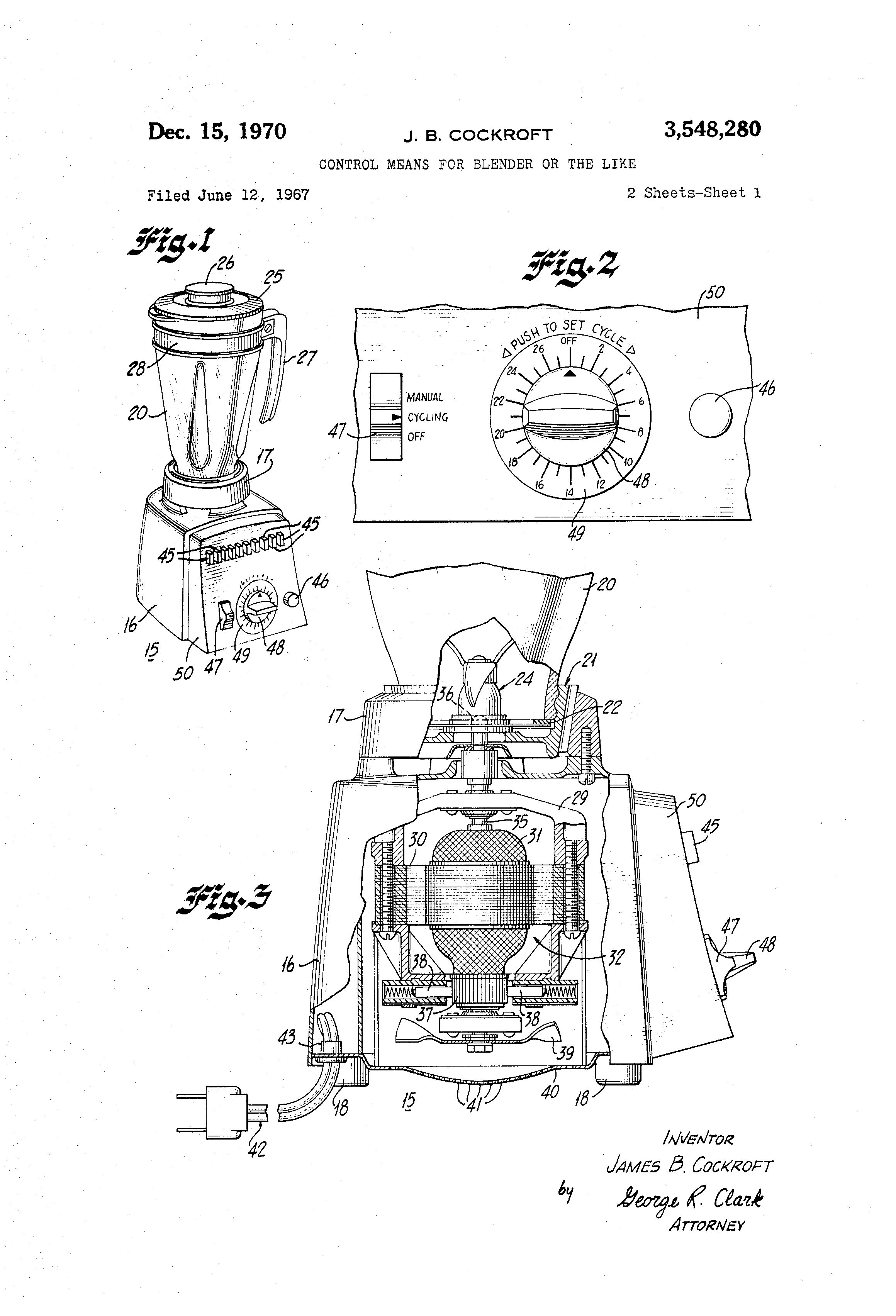 Patent Us3548280 Control Means For Blender Or The Like