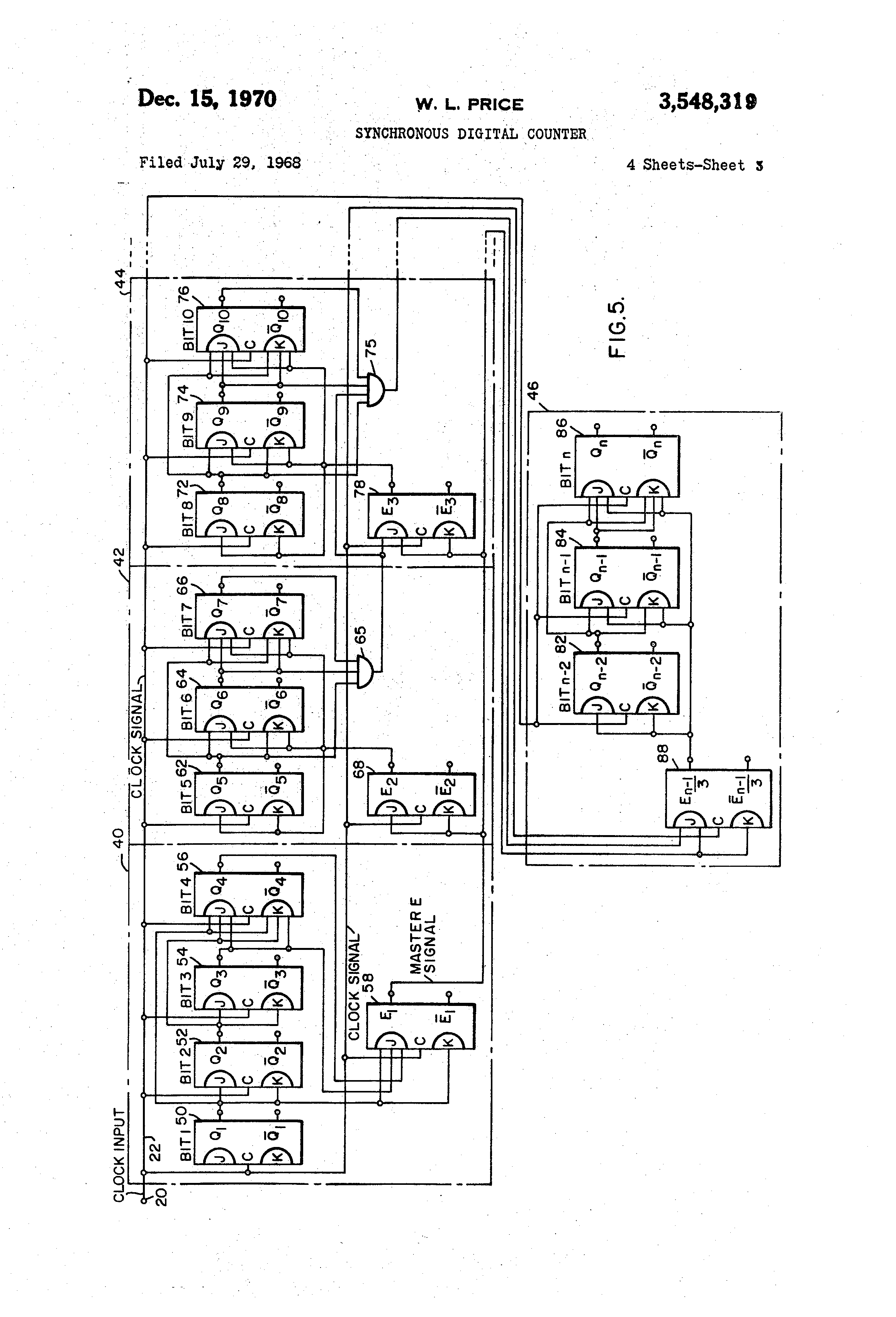 Brevet Us3548319 Synchronous Digital Counter Google Brevets Circuit Diagram Of A 1bit Consisting Jk Flipflop Patent Drawing