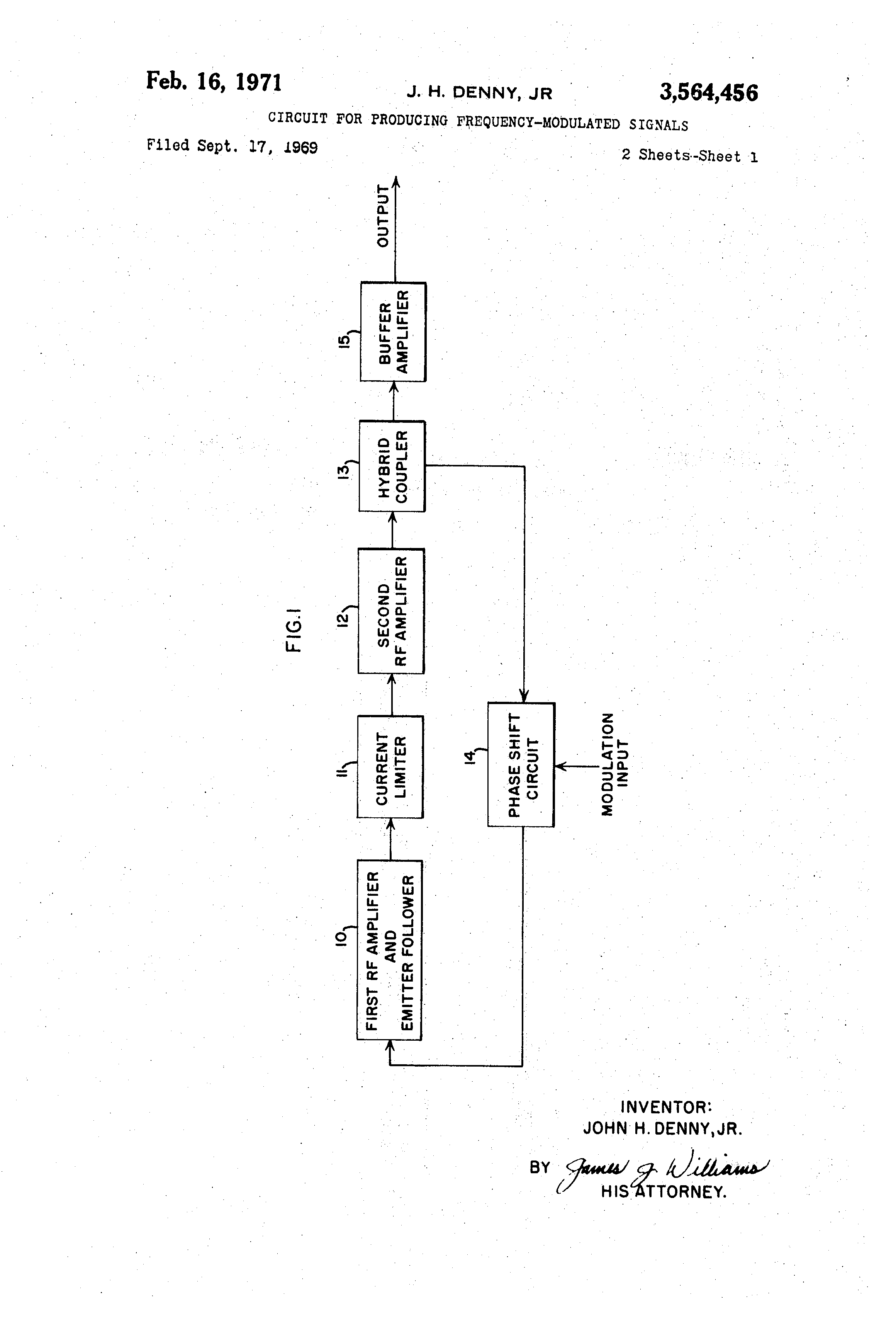 Patent Us3564456 Circuit For Producing Frequency Modulated Signals Emitter Follower Drawing
