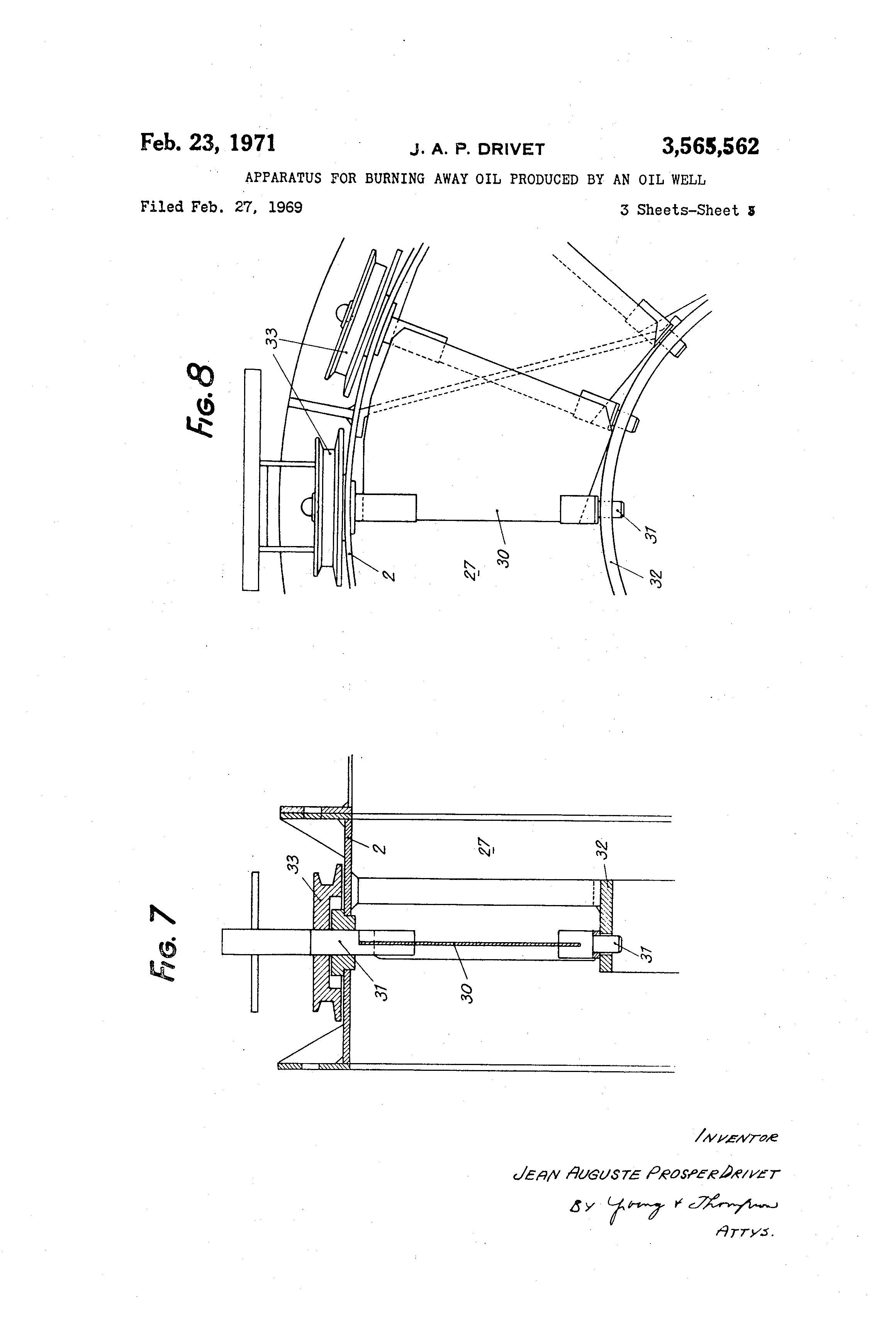 Patent US3565562 - Apparatus for burning away oil produced ... on