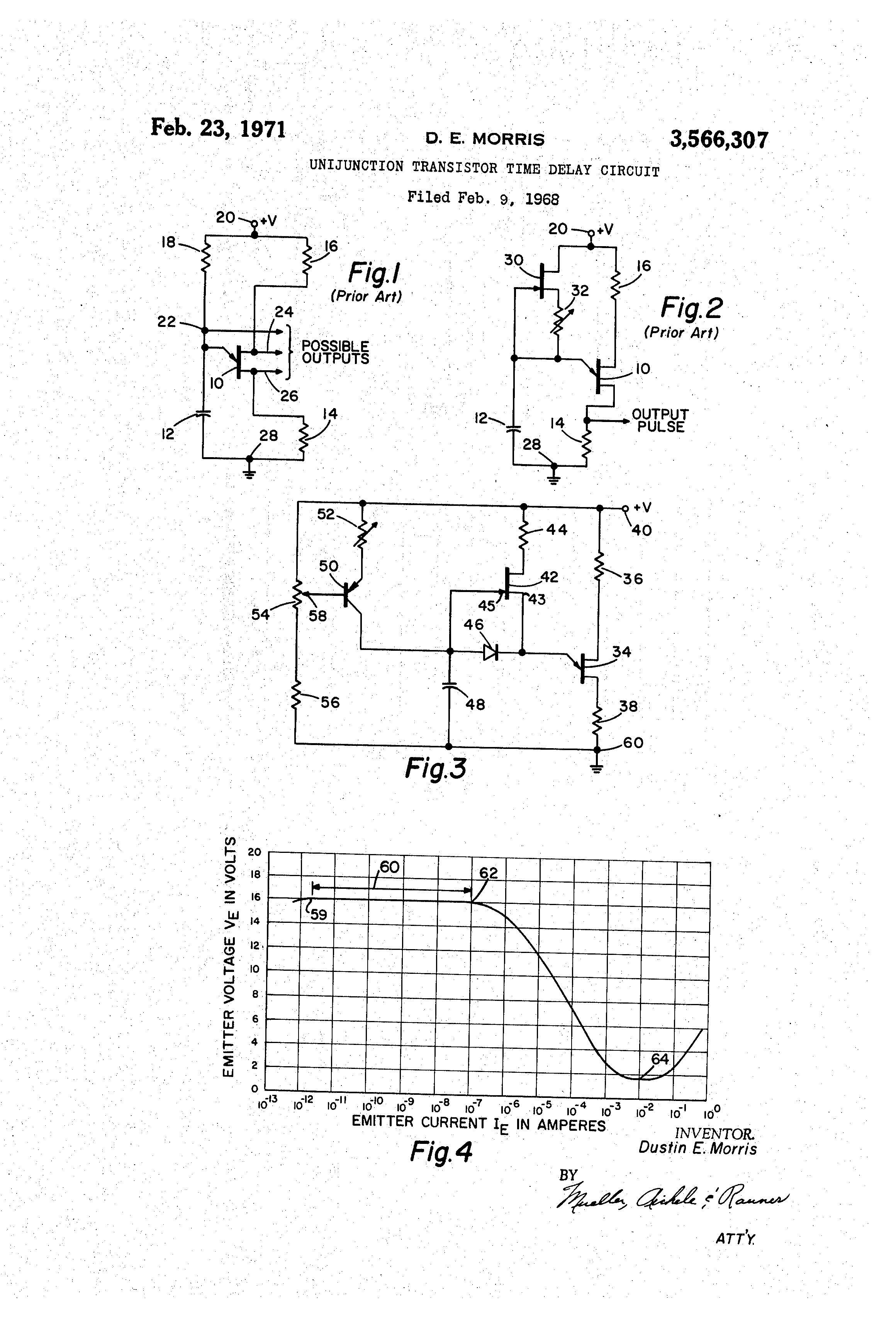 Patent Us3566307 Unijunction Transistor Time Delay Circuit Diagram Drawing