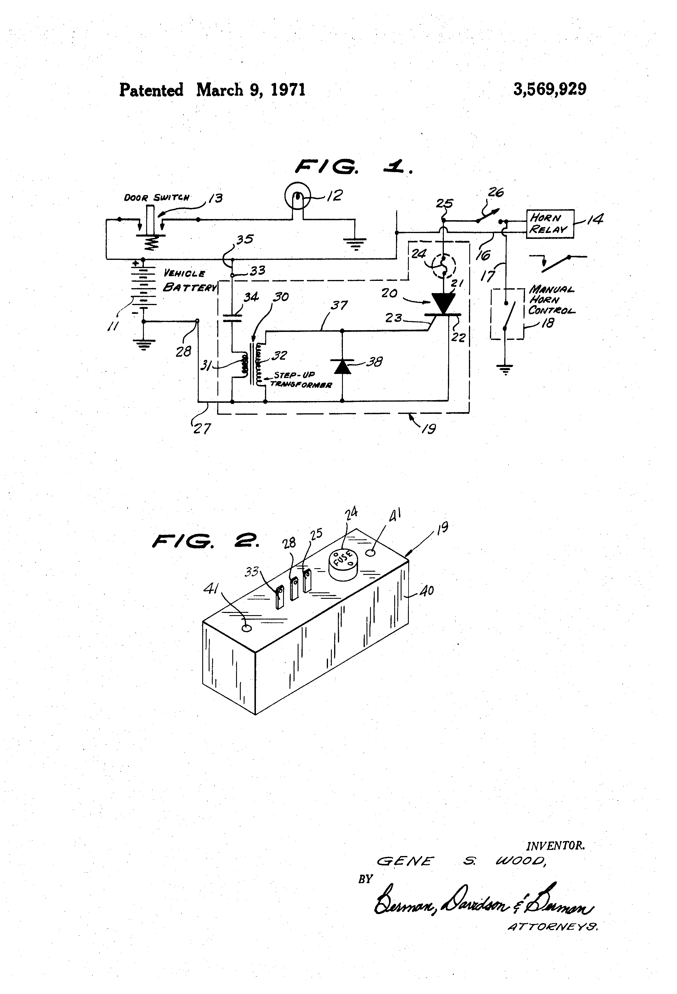 Patent Us3569929 Transient Voltage Detector Burglar Alarm System Circuit Diagram Using For Vehicles Us 3569929 A Abstract Available In Images1