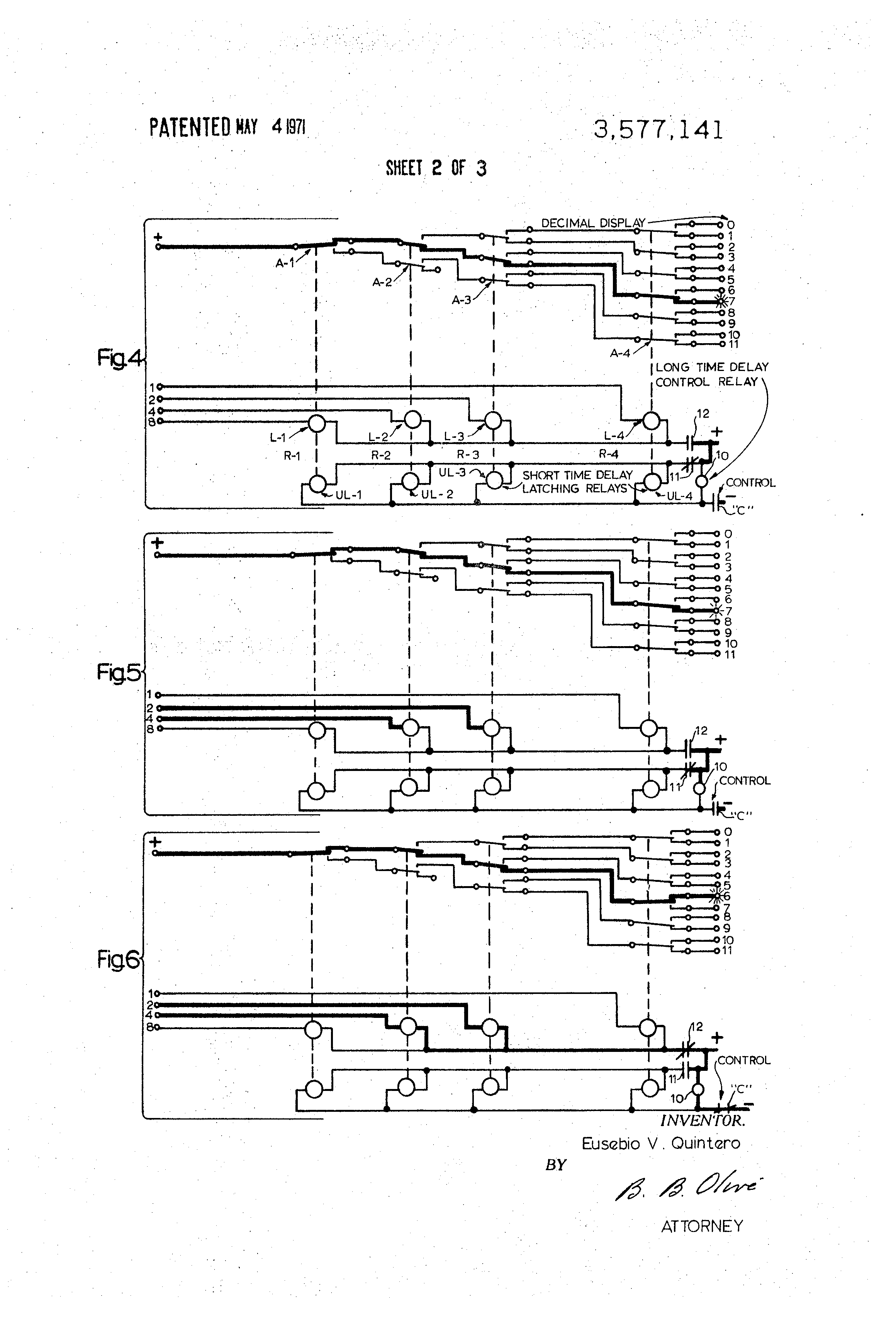 Patent US Binary To Decimal Tree Relay Decoder Circuit - Two coil latching relay