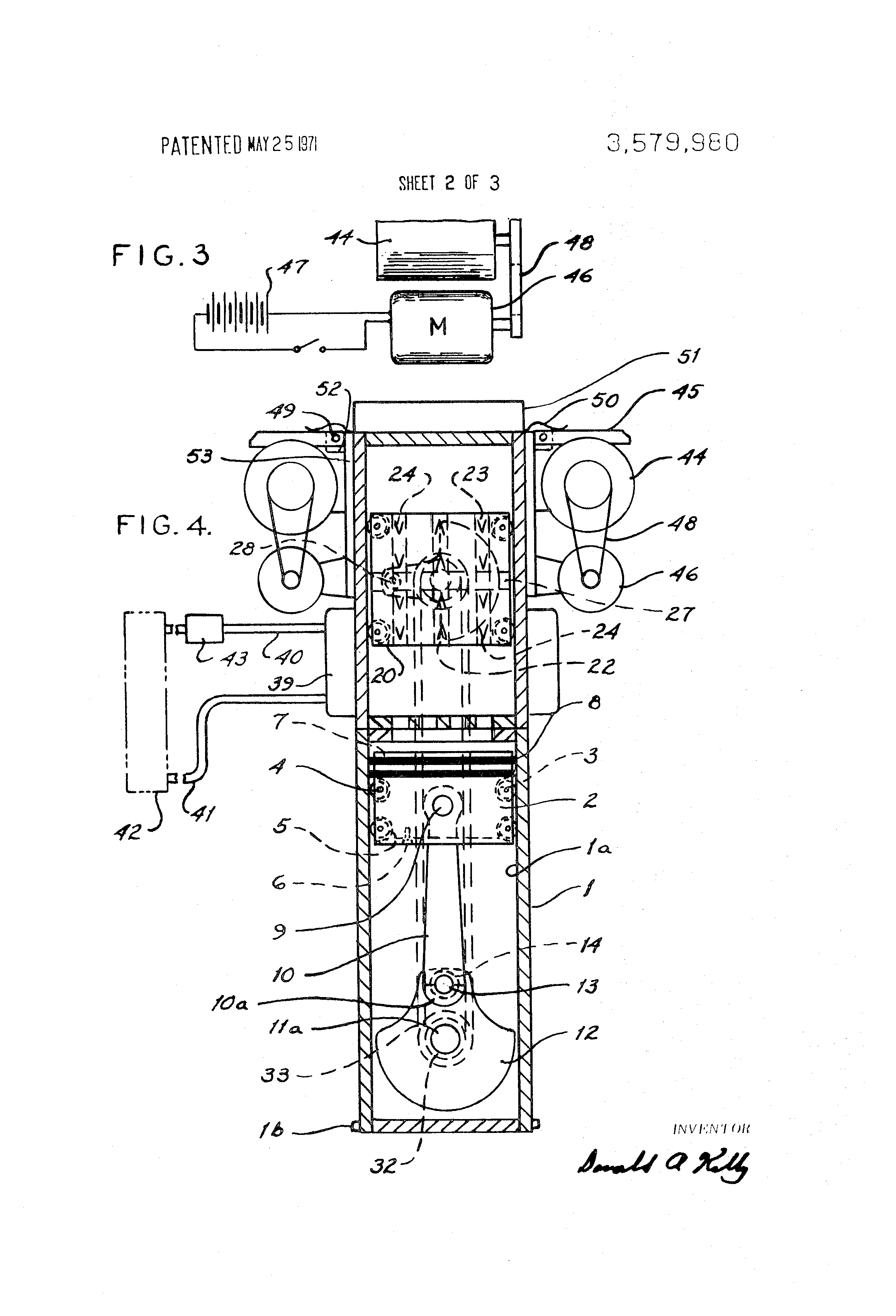 Brevet US3579980 - Uniflow stirling engine and frictional