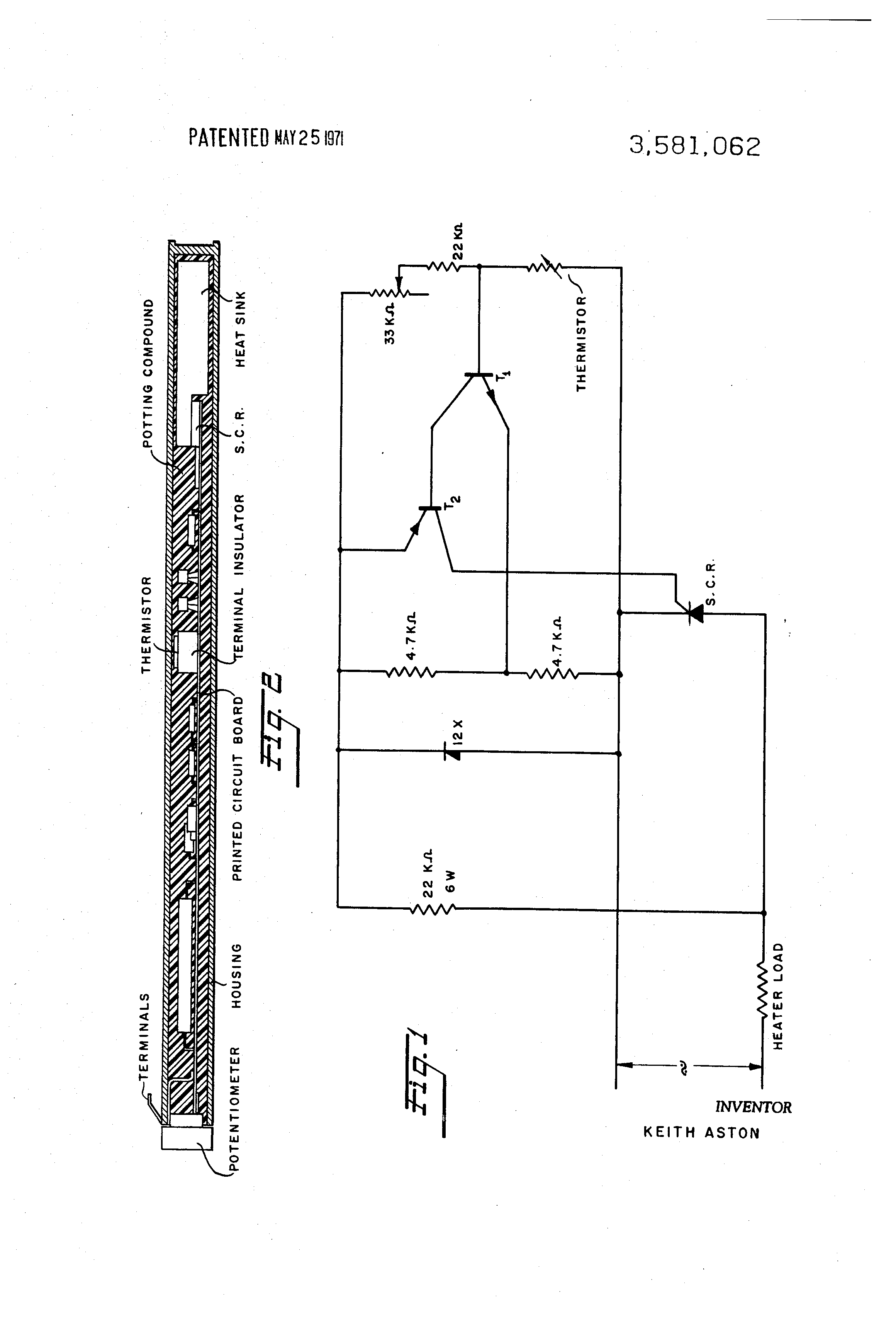 patent us3581062 - electronic thermostat