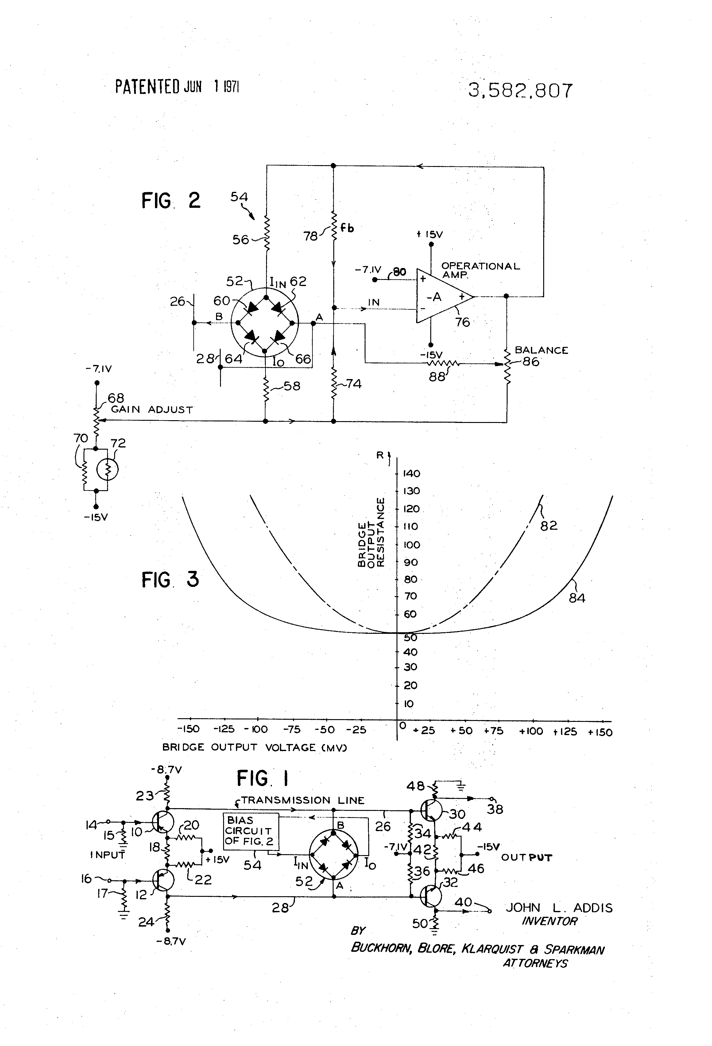 Patent Us3582807 Amplifier Gain Control Circuit Including Diode Shunt Series Pair Wideband Drawing