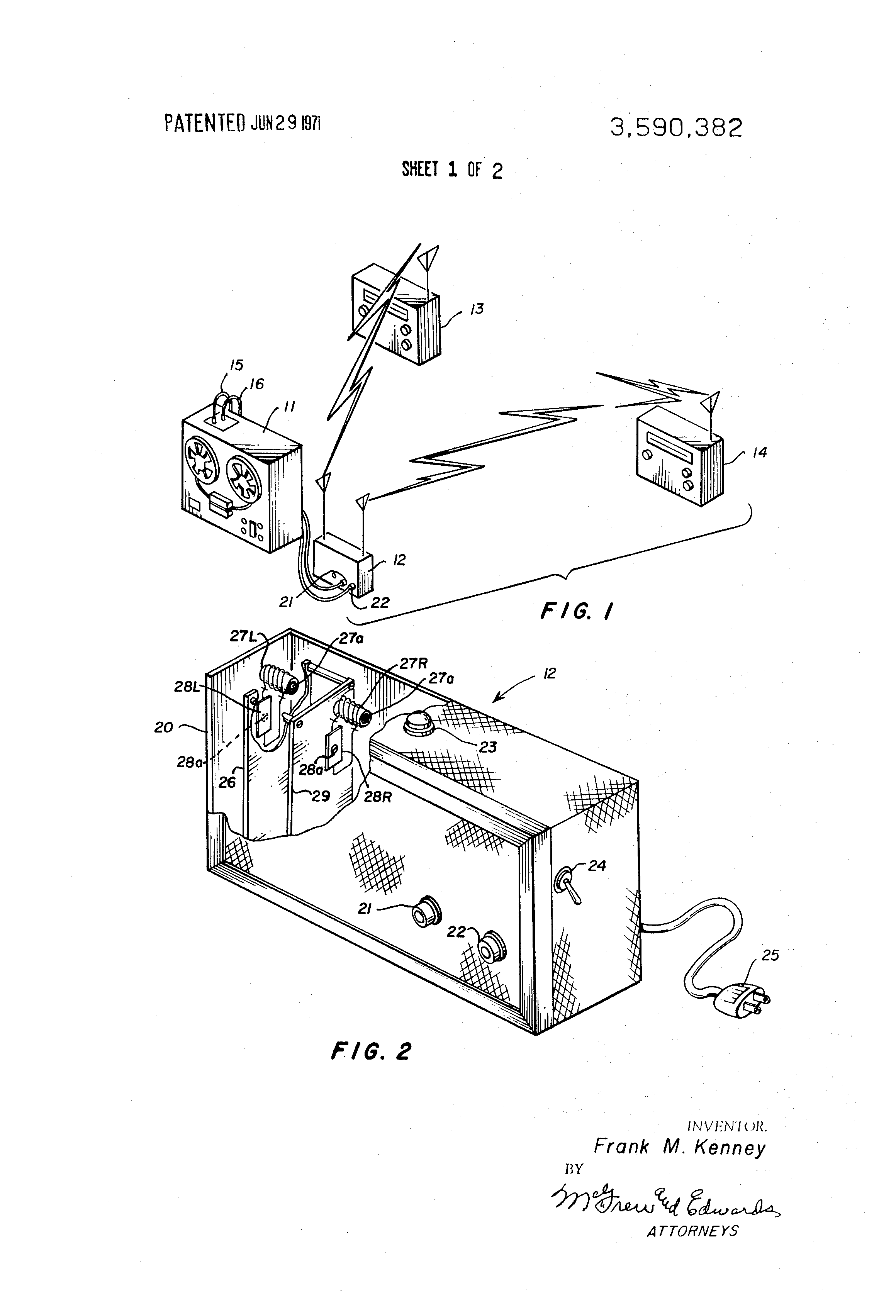 Patent Us3590382 Wireless Stereo Sound Speaker System And Circuit Diagram Automotive Frequency Modulation Radio Drawing