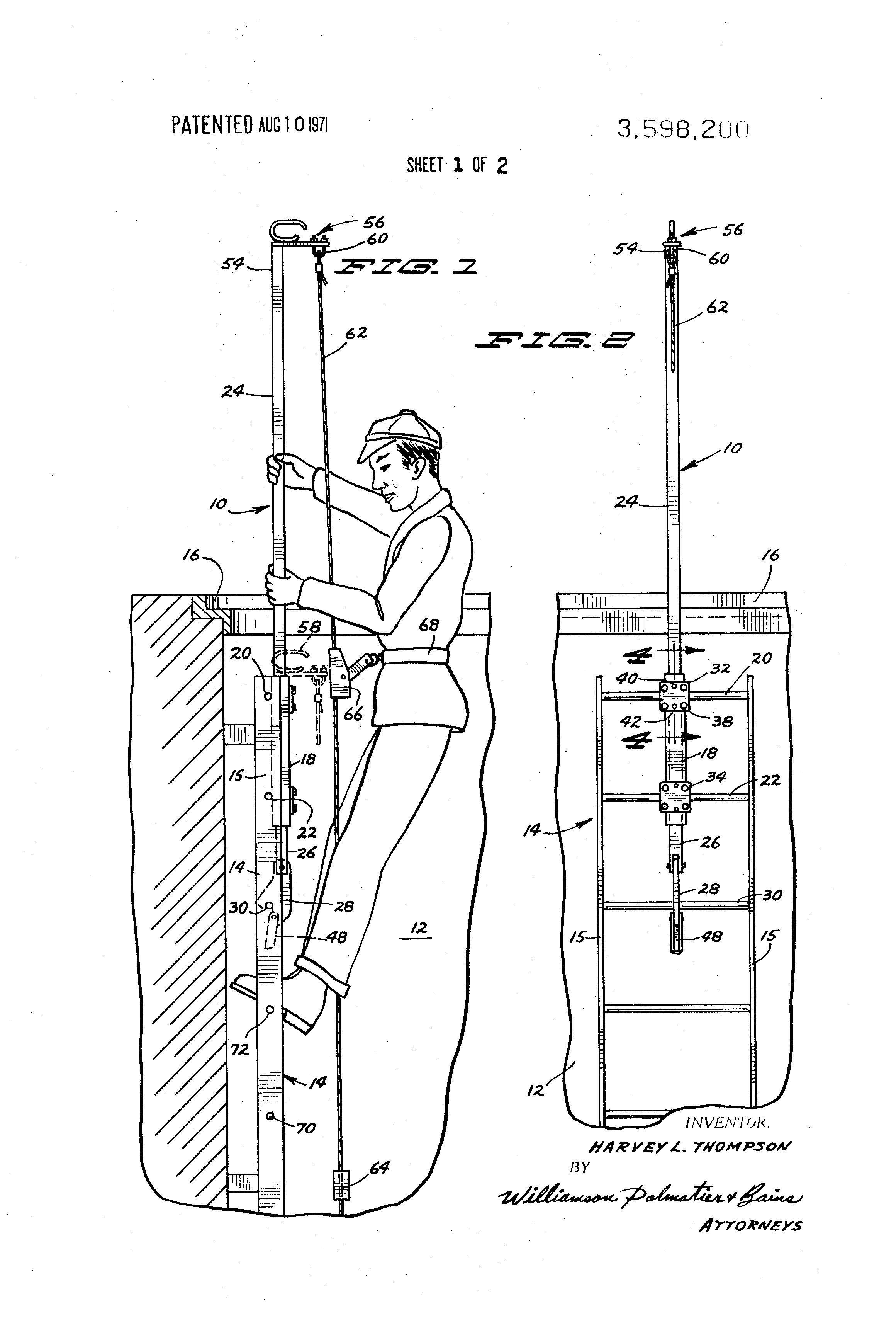 Patent Us3598200 Extensible Safety Appliance For Manhole