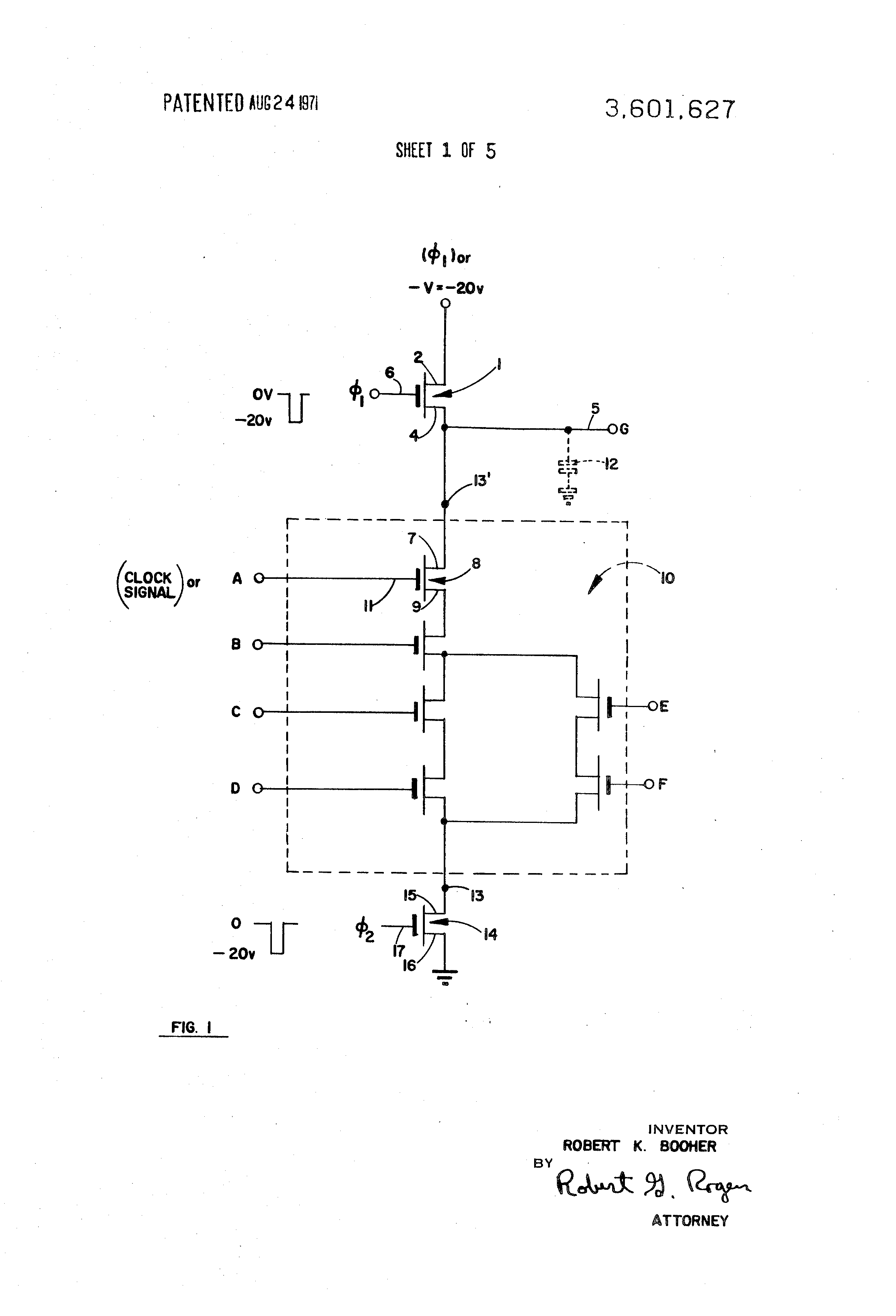 Patent Us3601627 Multiple Phase Logic Gates For Shift Register Circuit Diagram With Decoder And Drawing