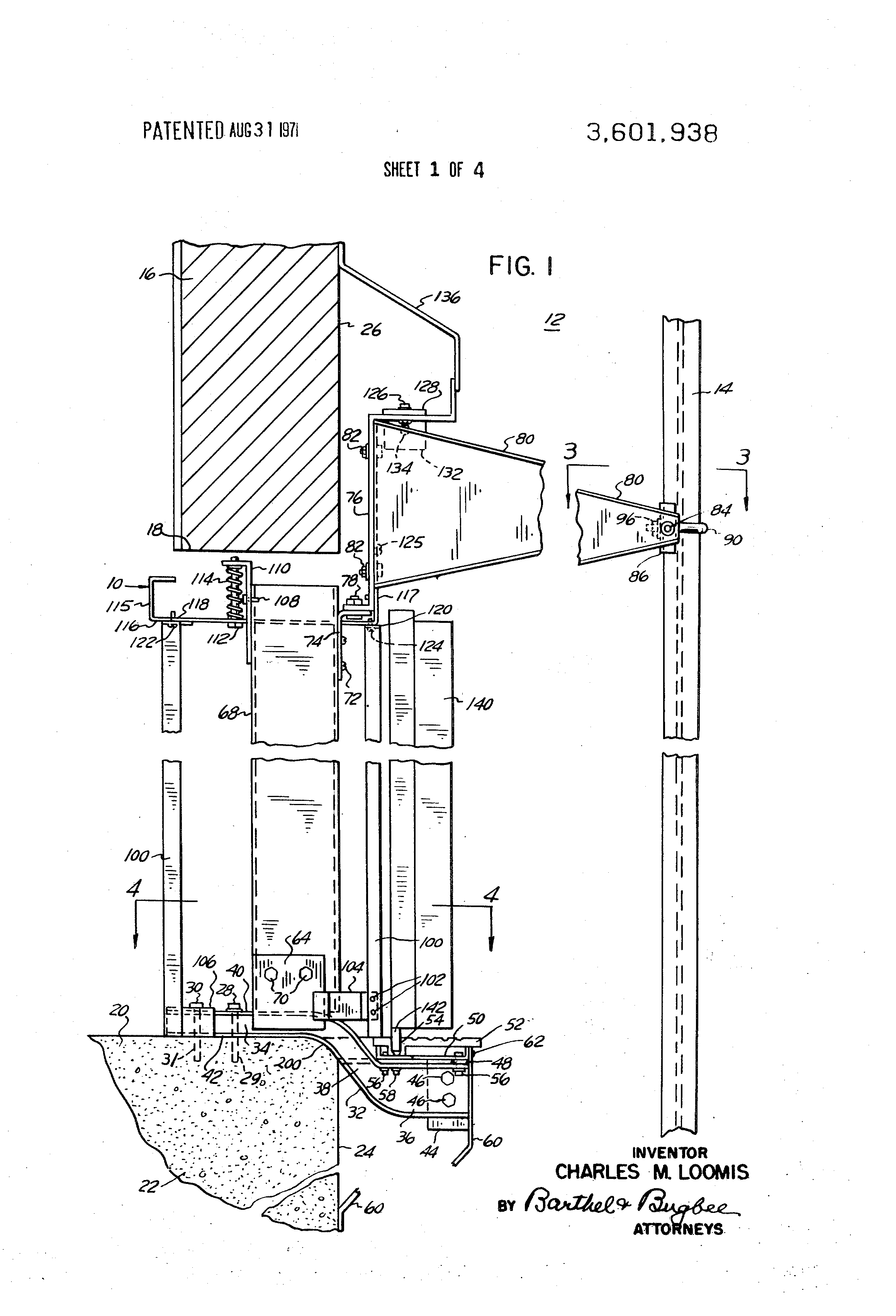 Patent Us3601938 Universal Elevator Shaft Entrance
