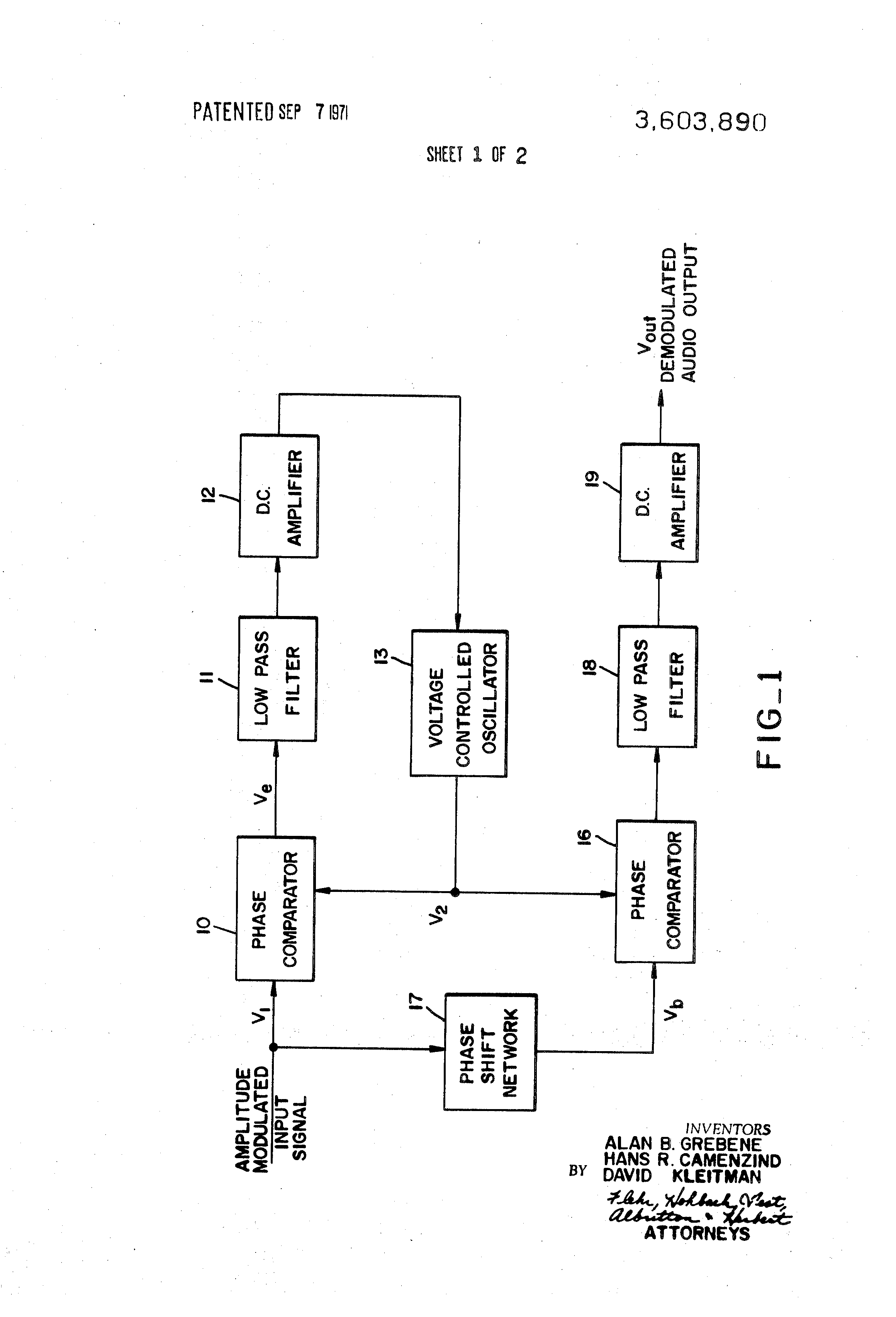 Brevet Us3603890 Amplitude Demodulator Using A Phase Locked Loop Pll Fm Circuit Schematic Diagram Patent Drawing