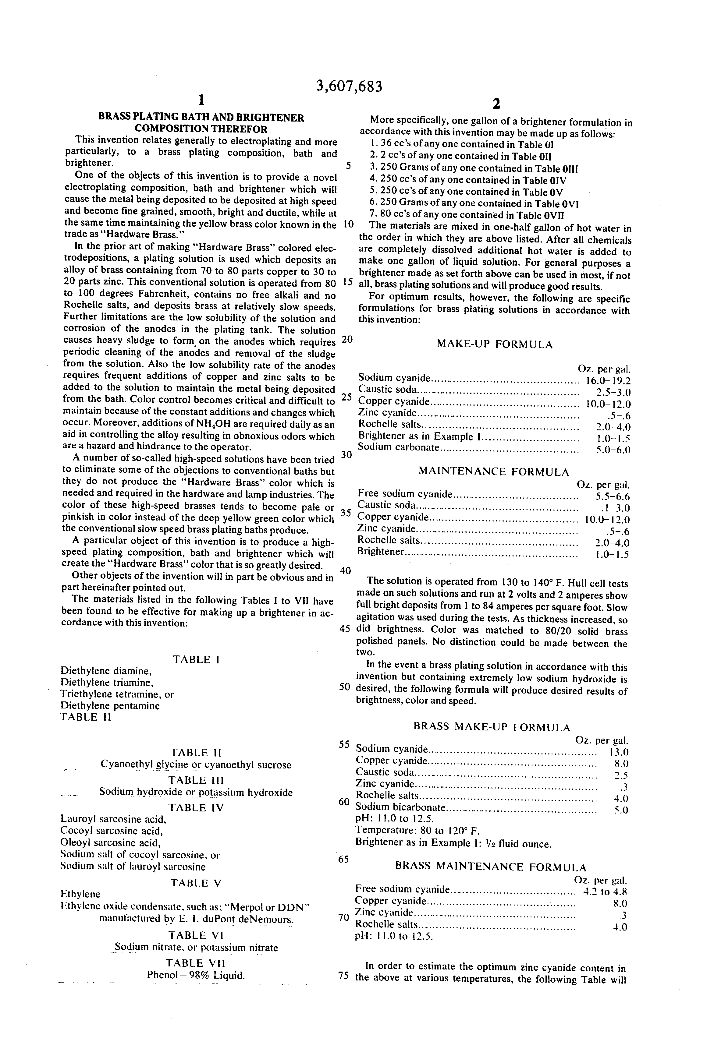 Patent US Brass plating bath and brightener position