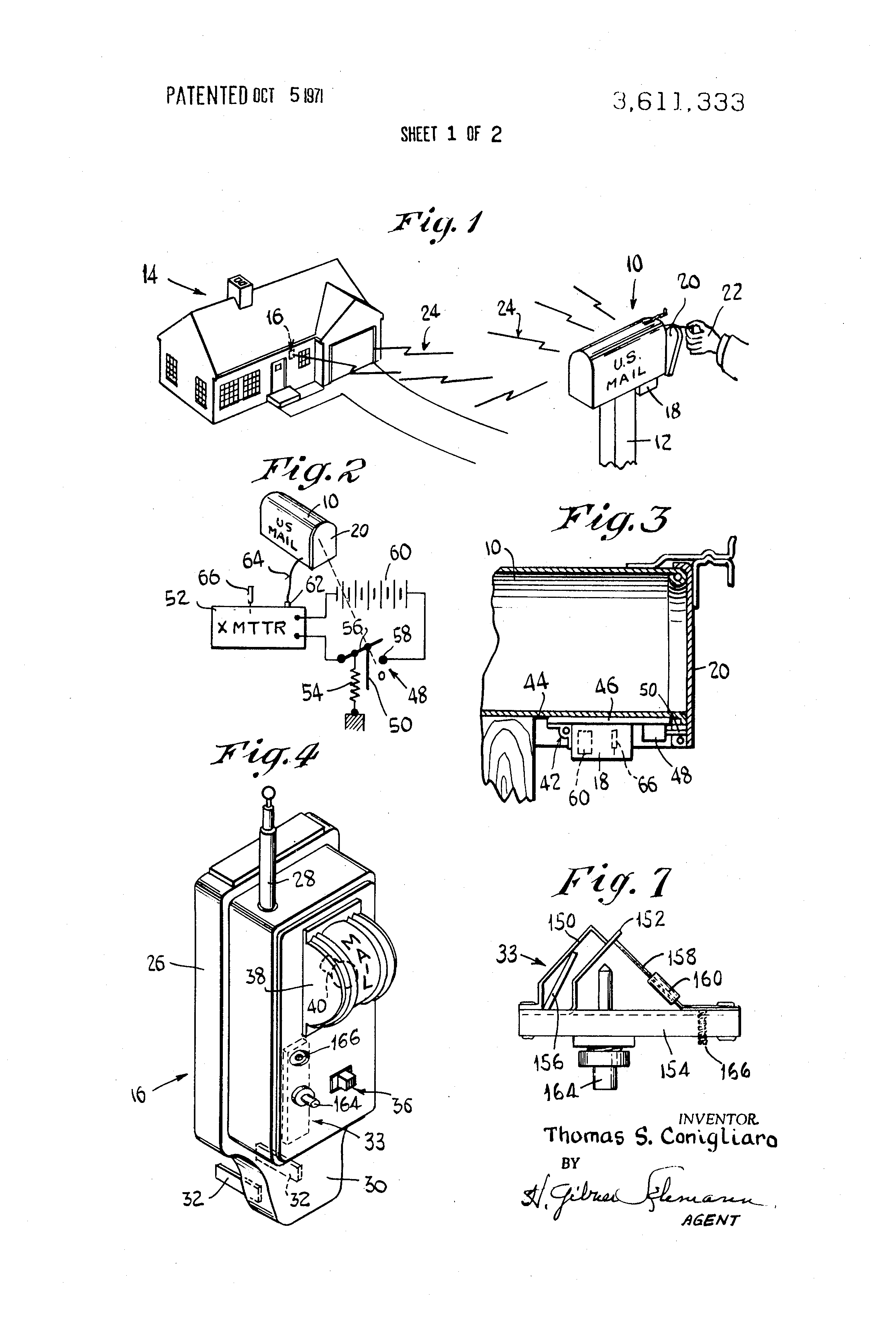 patent us3611333 - mailbox operated electronic signal device