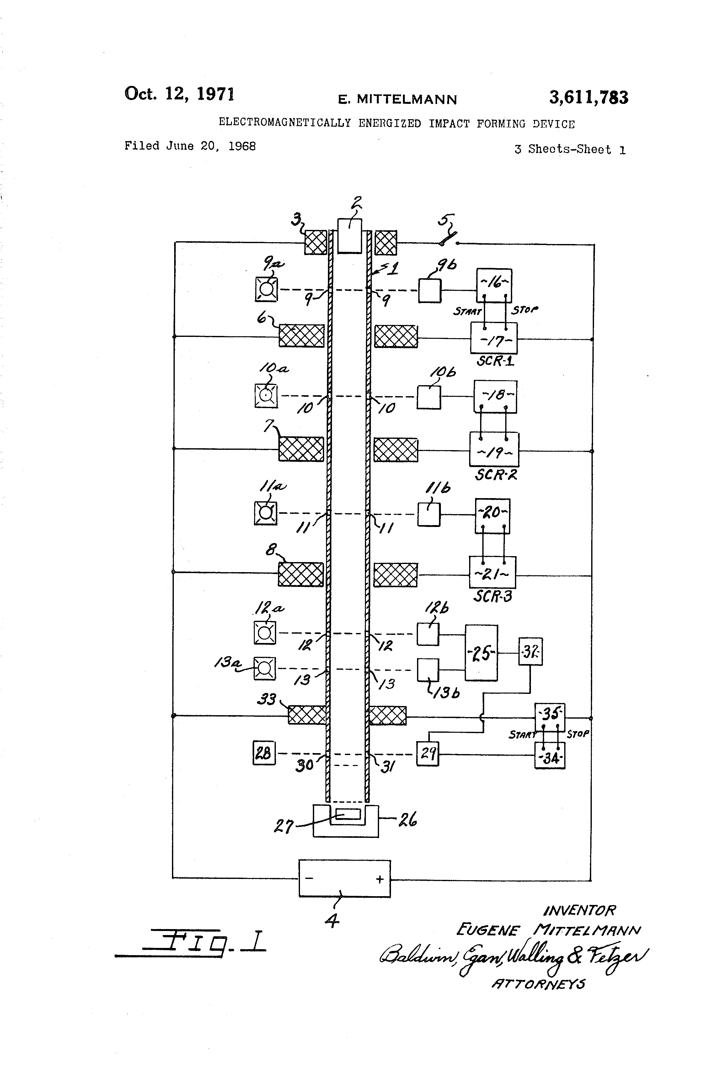 Patente Us3611783 Electromagnetically Energized Impact Forming Fig 1 Thyristor Fired Coilgun Circuit Patent Drawing
