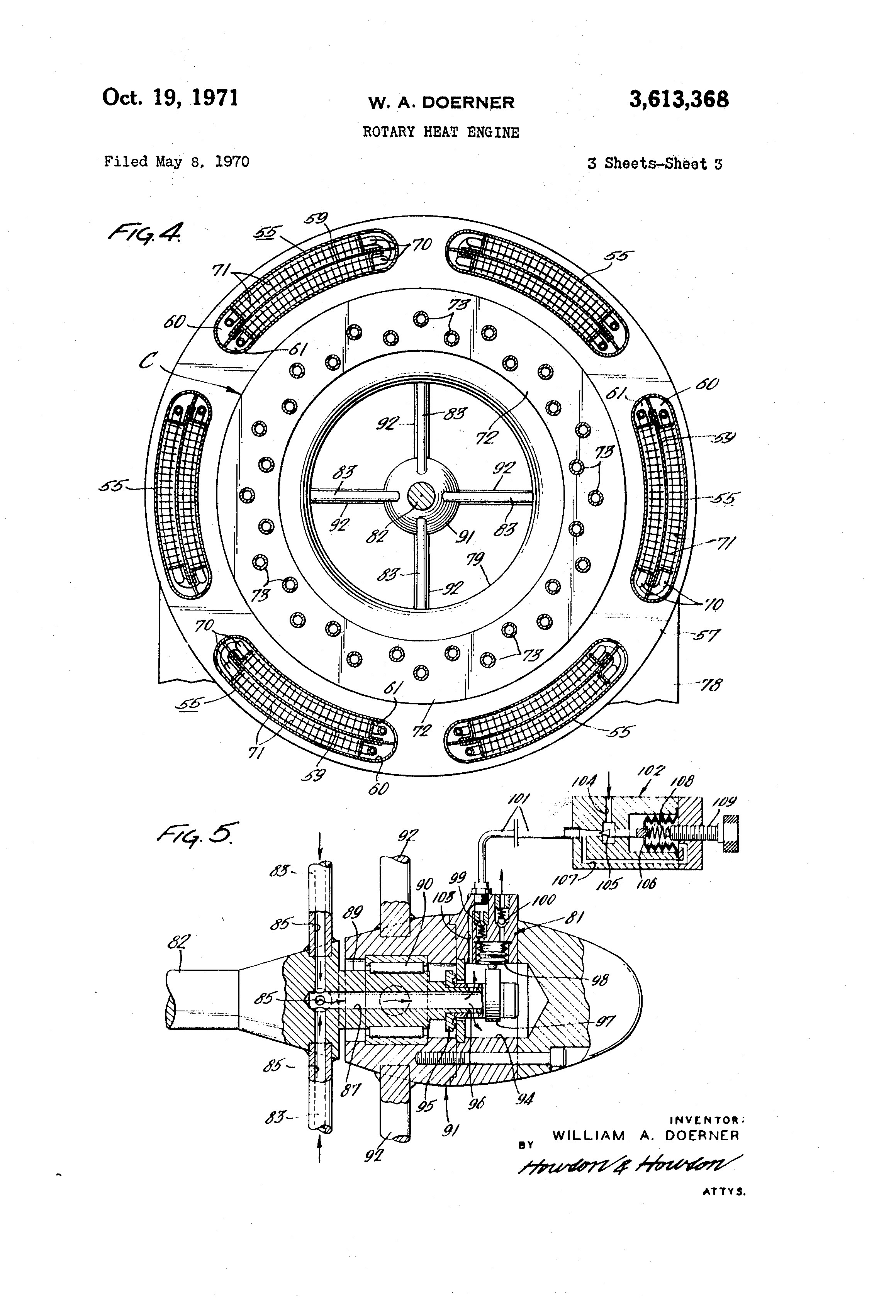 patent us3613368 - rotary heat engine