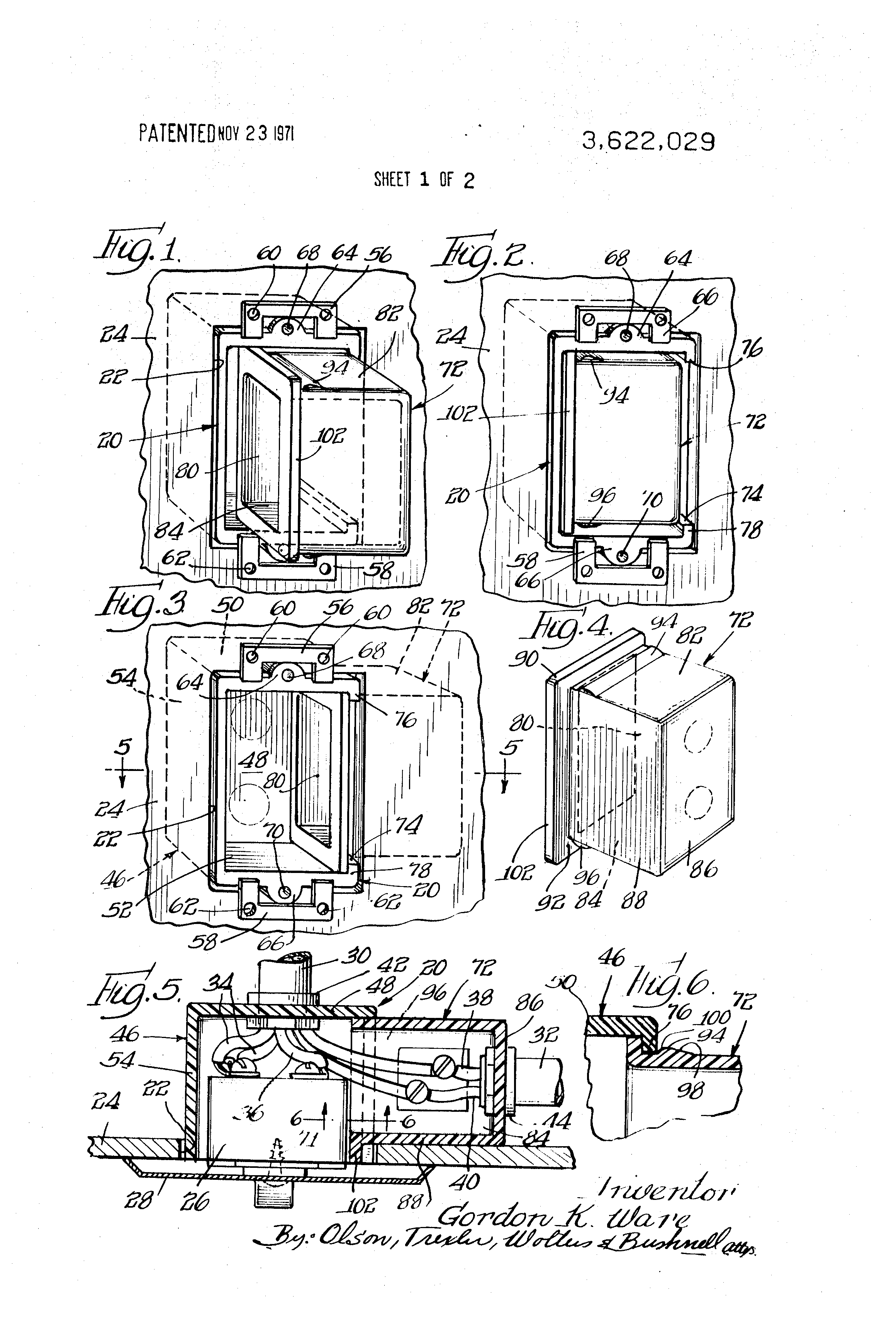 patent us3622029 - electrical outlet box