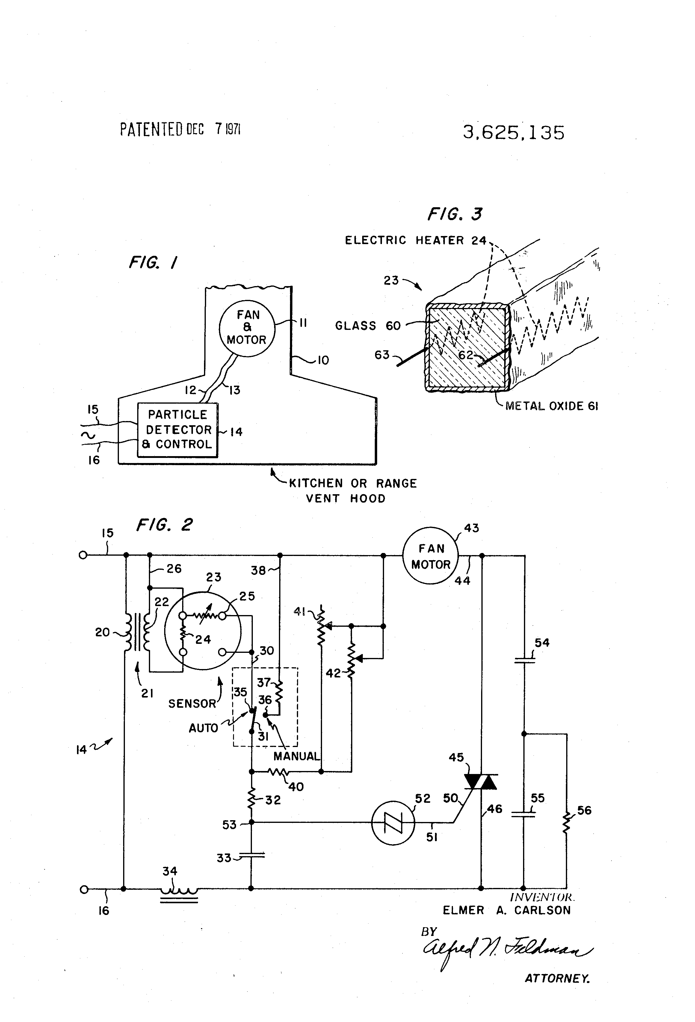 patent us3625135 automatically controlled cooking area ventilating Thyristor Symbol patent drawing