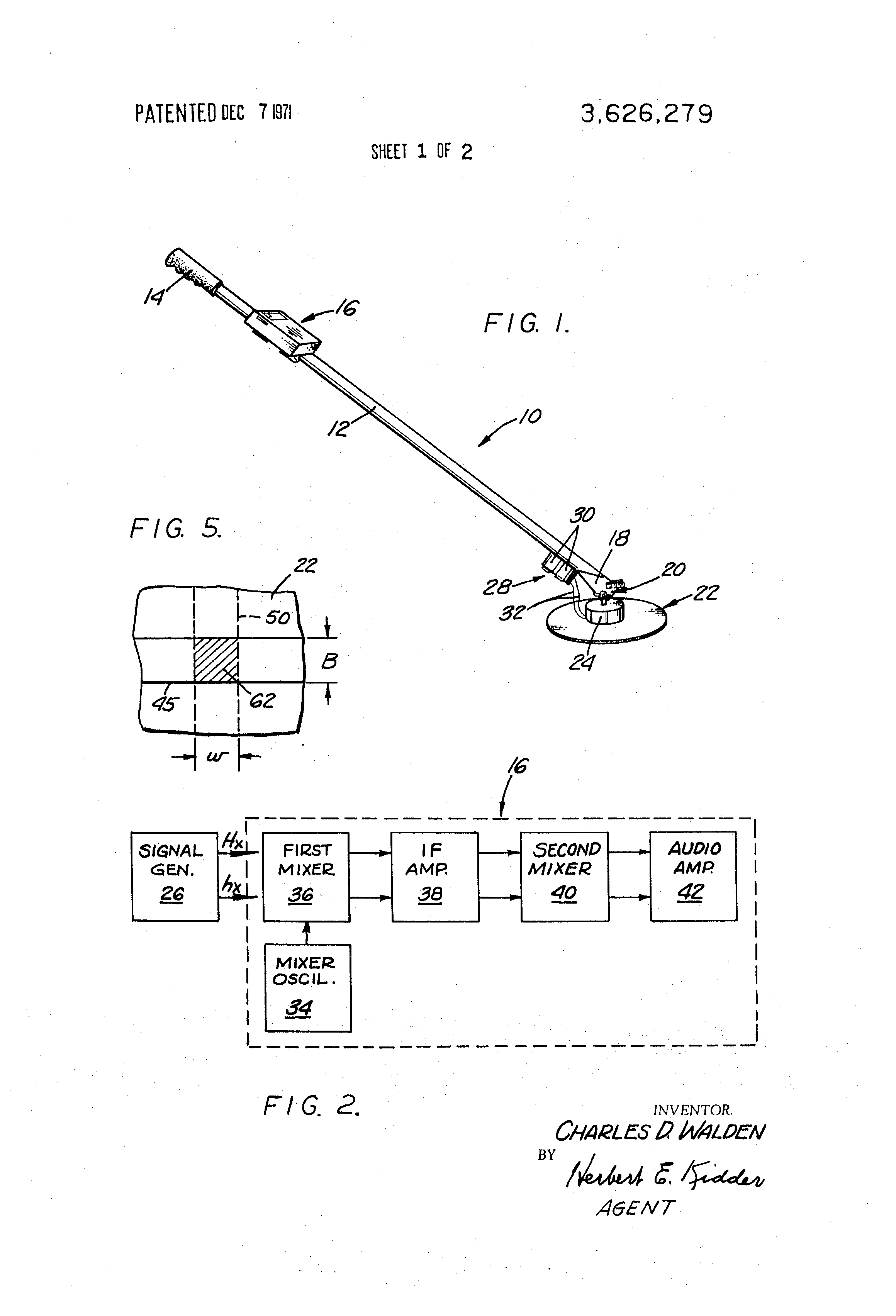 Patent Us3626279 Metal Detector Utilizing Radio Receiver And Simple Oscillator Pipe Locator Circuit Diagram Drawing