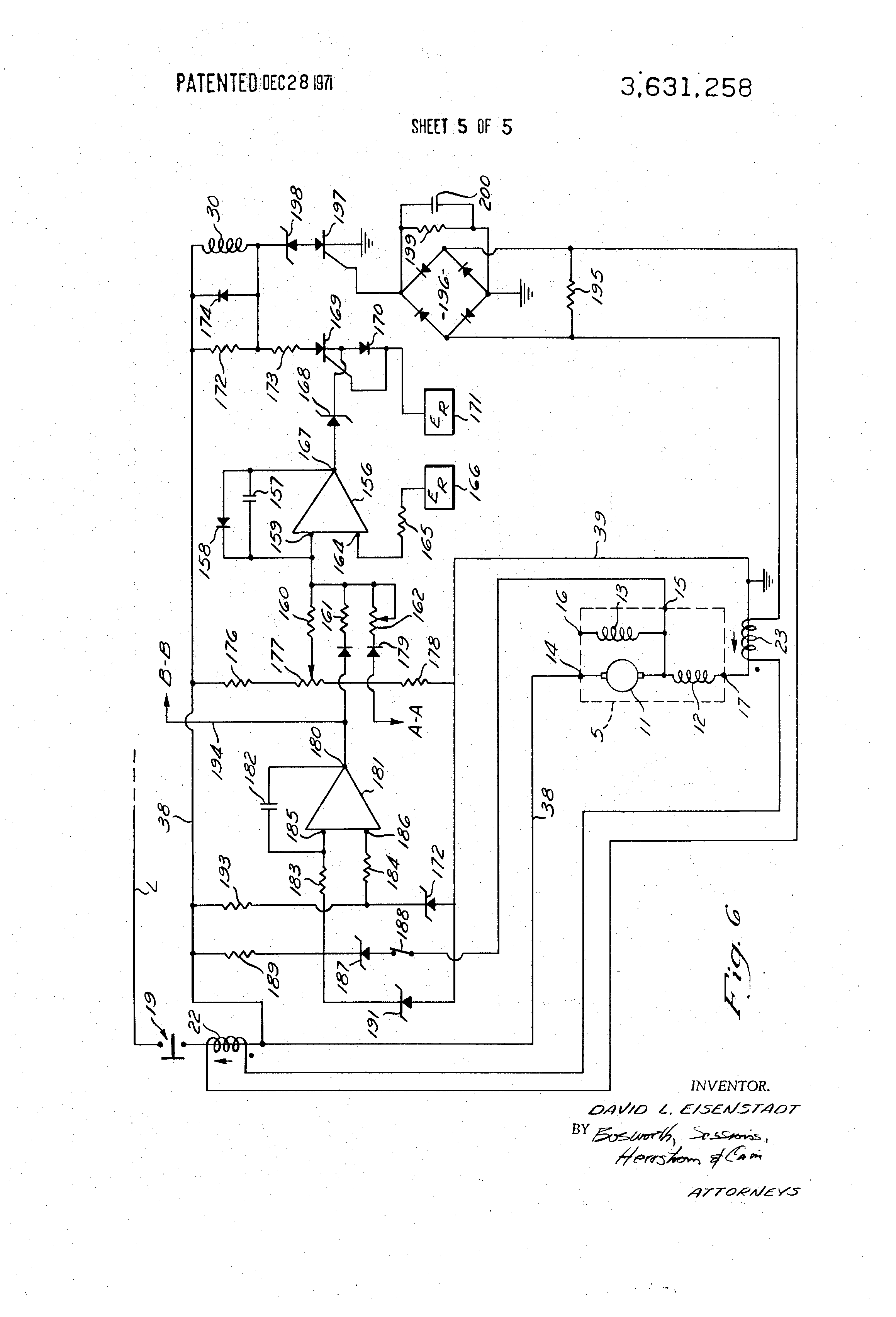 Darlington Pair To Drive Dc Motor Schematic Diagram Wiring Patent Us3631258 Protection And Control Panel With Generator Drawing