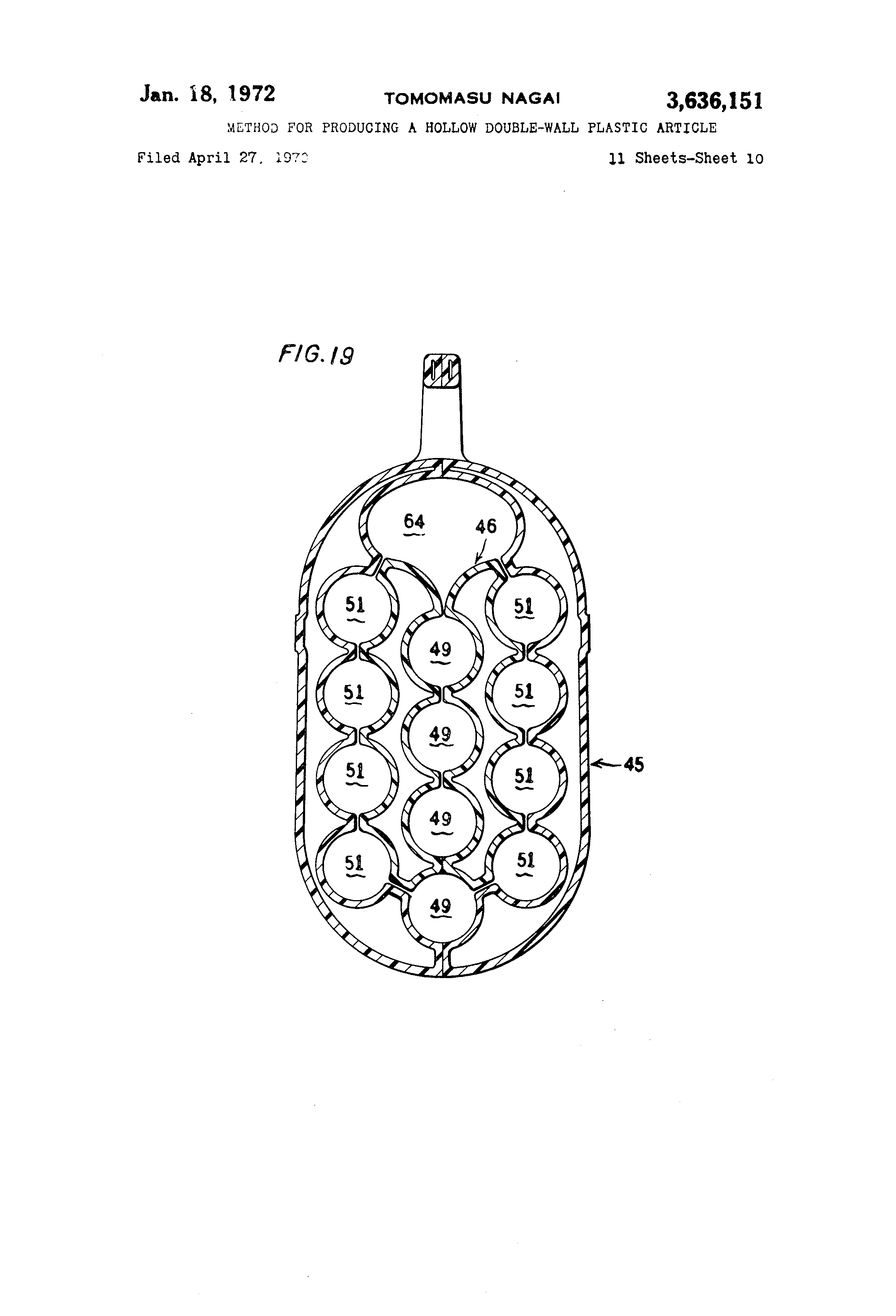 Brevet US3636151 - Method for producing a hollow