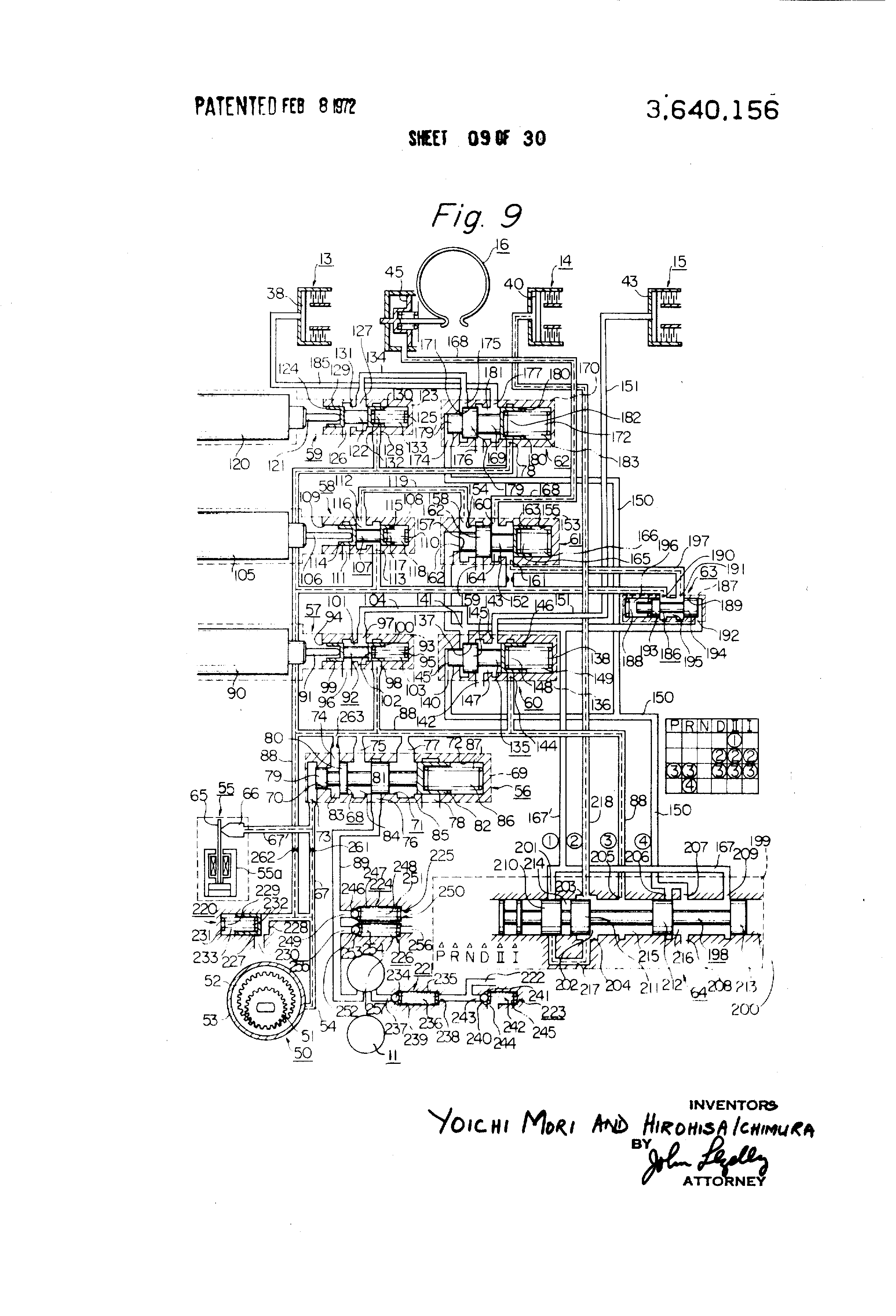 patent us3640156 - control system for automotive automatic transmission
