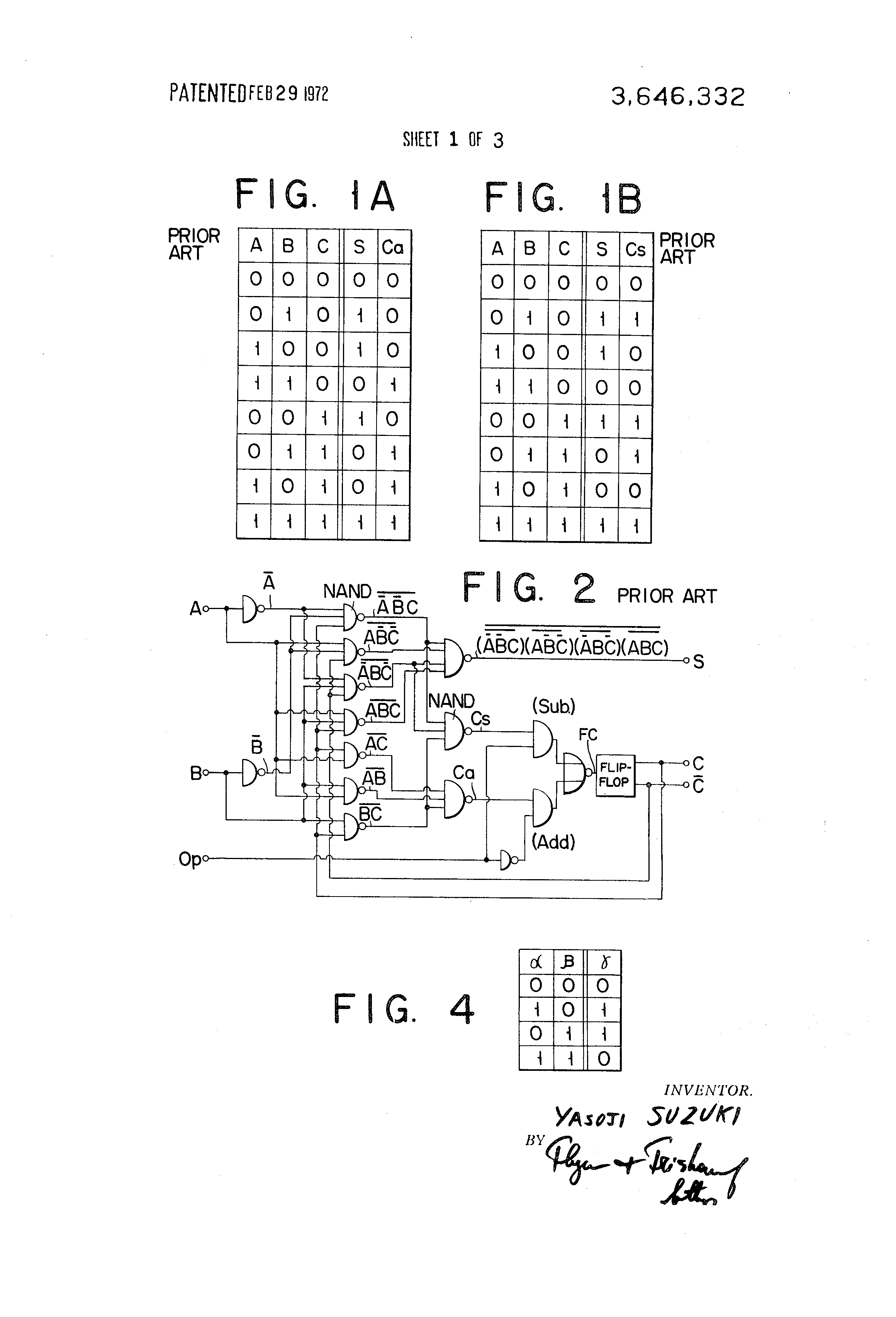 Patent Us3646332 Binary Adder And Or Subtraction Using Exclusive This Is A Diode Transistor Logic Dtl Nand Gate Circuit Bipolar Drawing