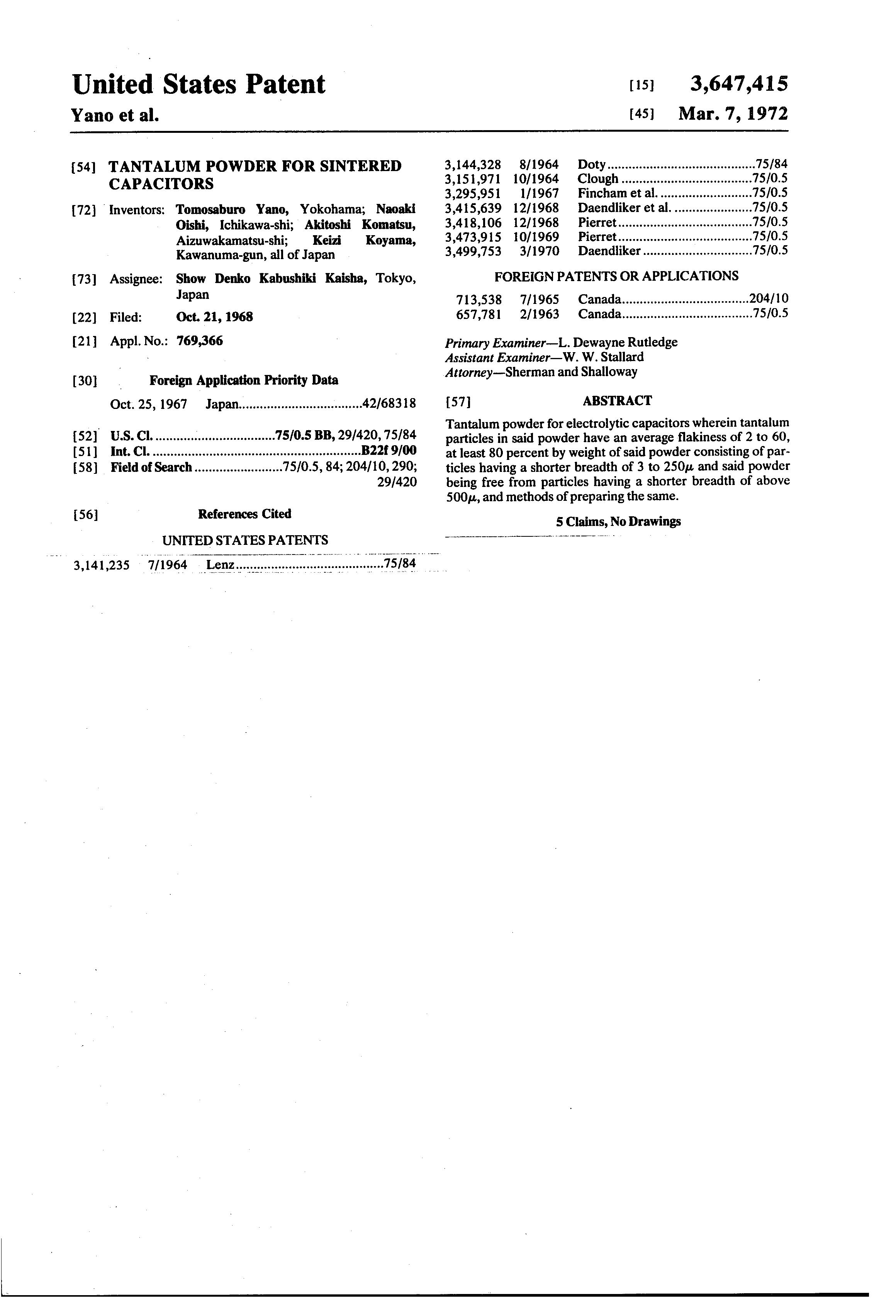 Patent Us3647415 Tantalum Powder For Sintered Capacitors Google Multiple Anode Capacitor Drawing
