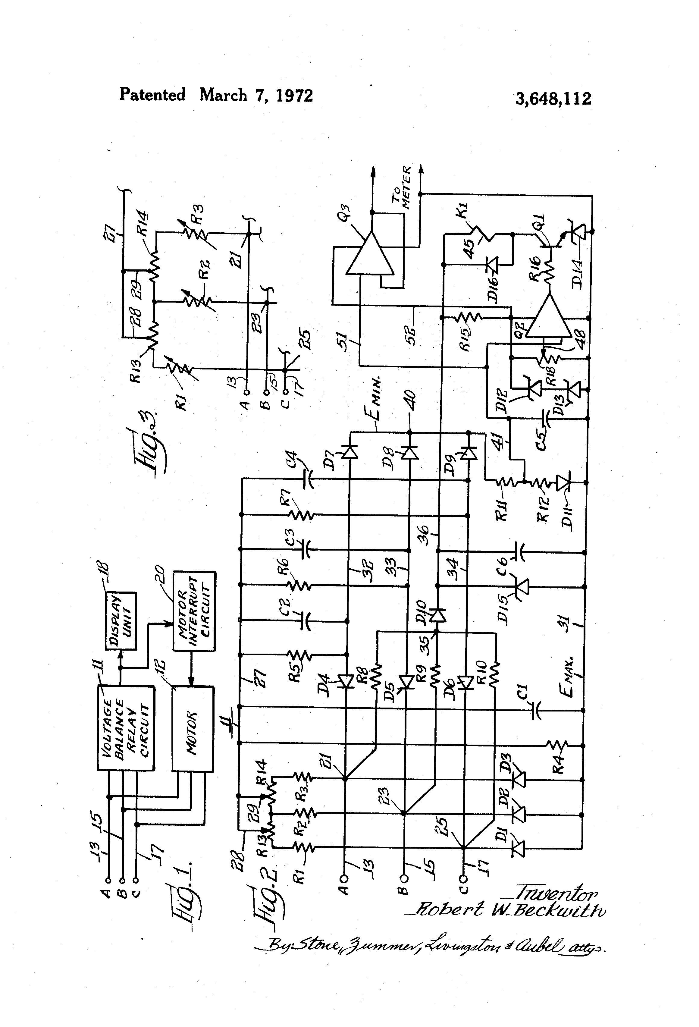 Patent Us3648112 Voltage Balance Relay Circuit Google Patents Design Drawing