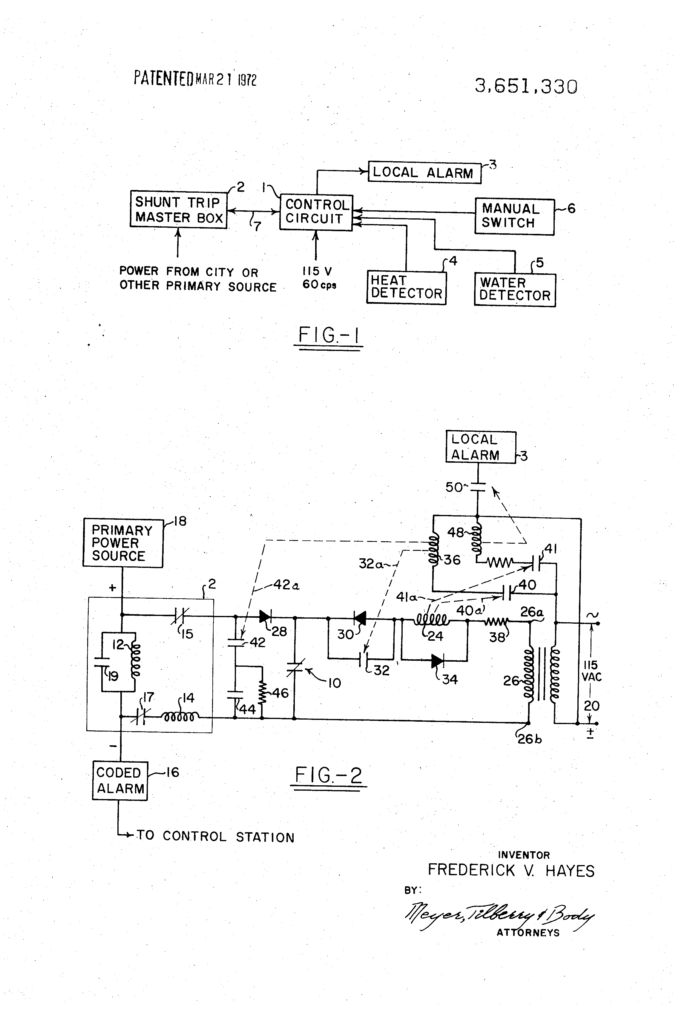 US3651330 1 patent us3651330 dual alarm and master box control circuit gamewell fire alarm box wiring diagram at edmiracle.co