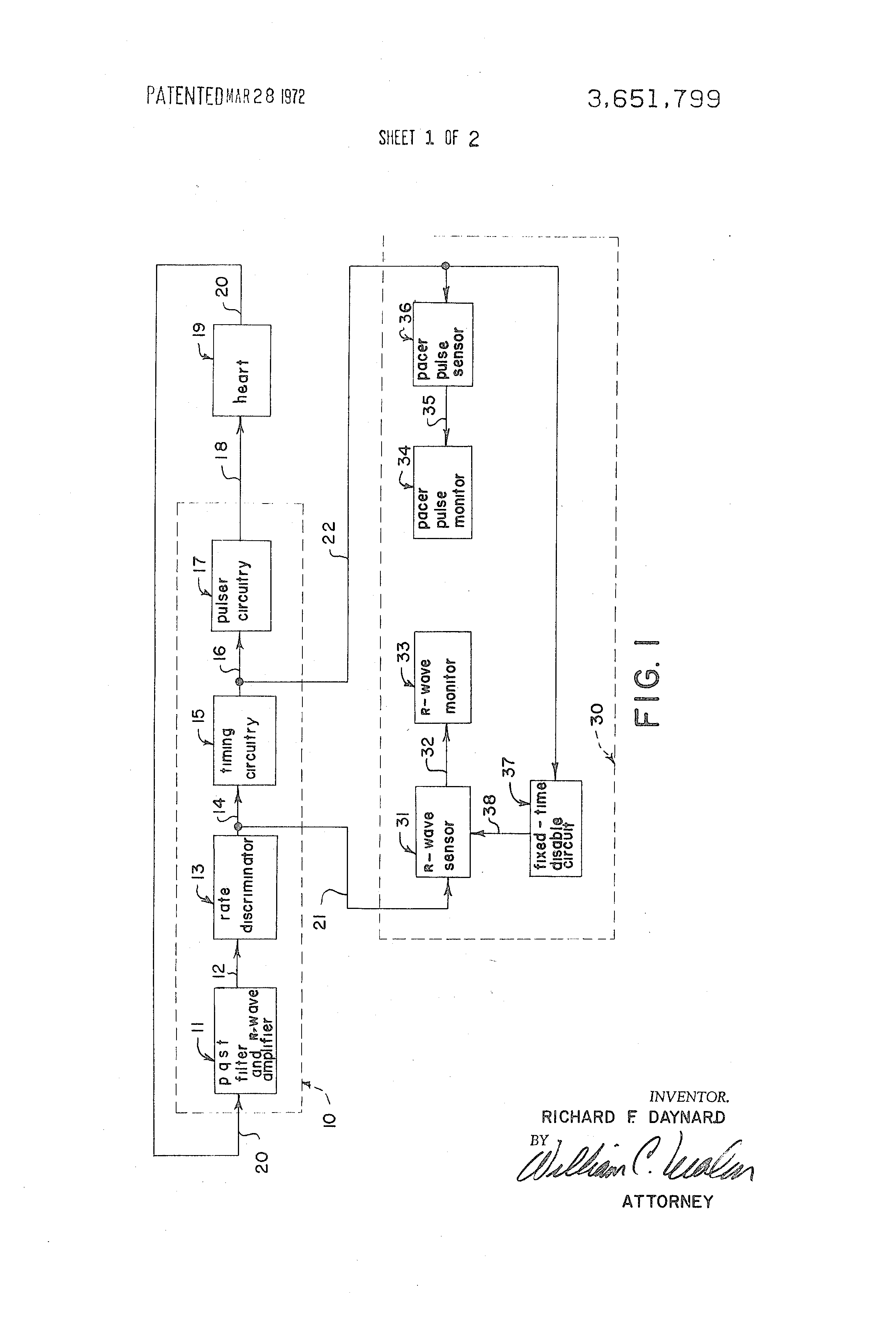 Patent Us3651799 System For Mutually Exclusive Monitoring Of Heartbeatmonitorcircuitjpg Drawing