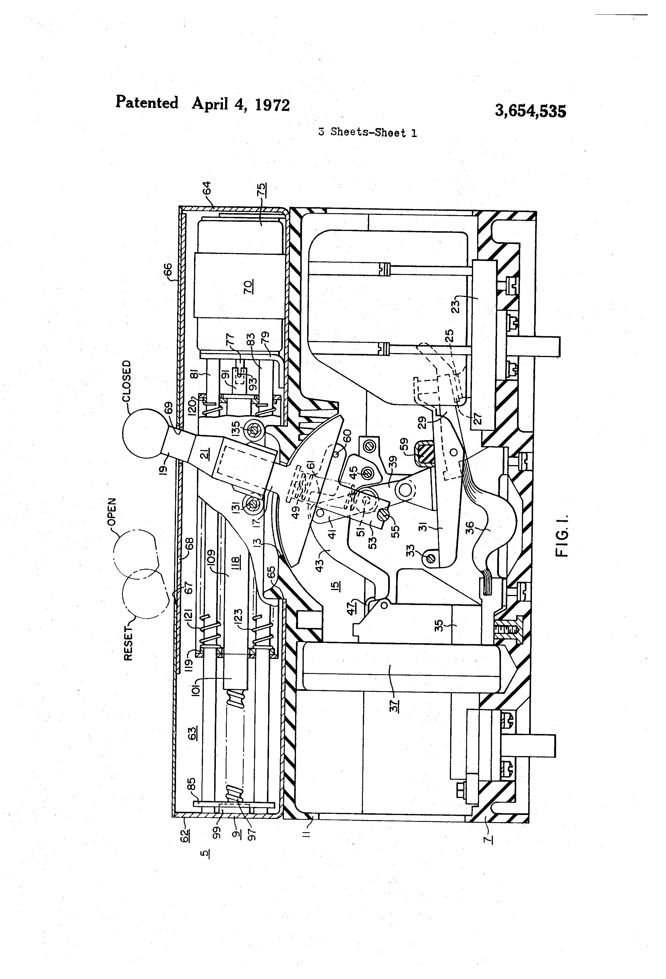 patent us3654535 - motor operated circuit breaker control