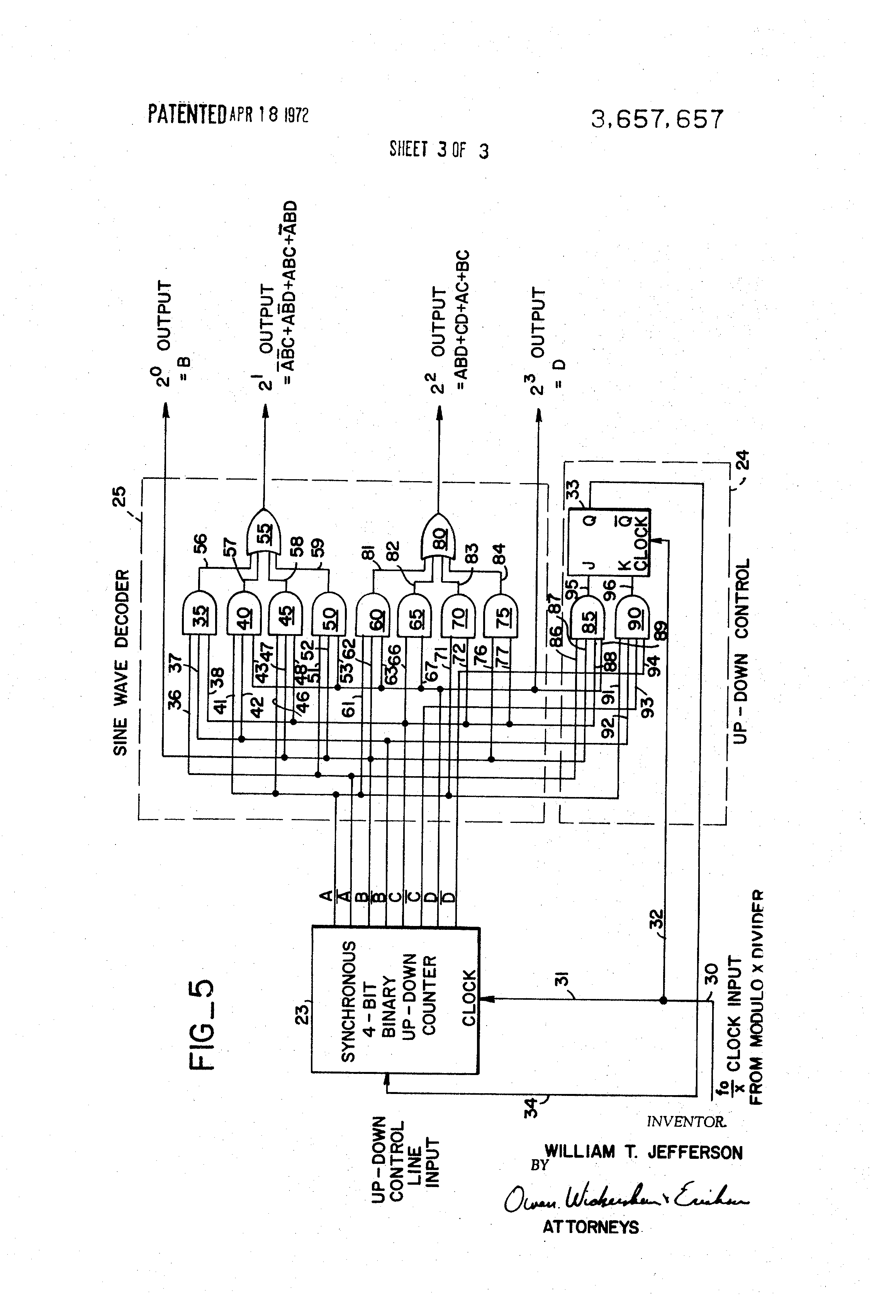 patent us3657657 - digital sine wave generator