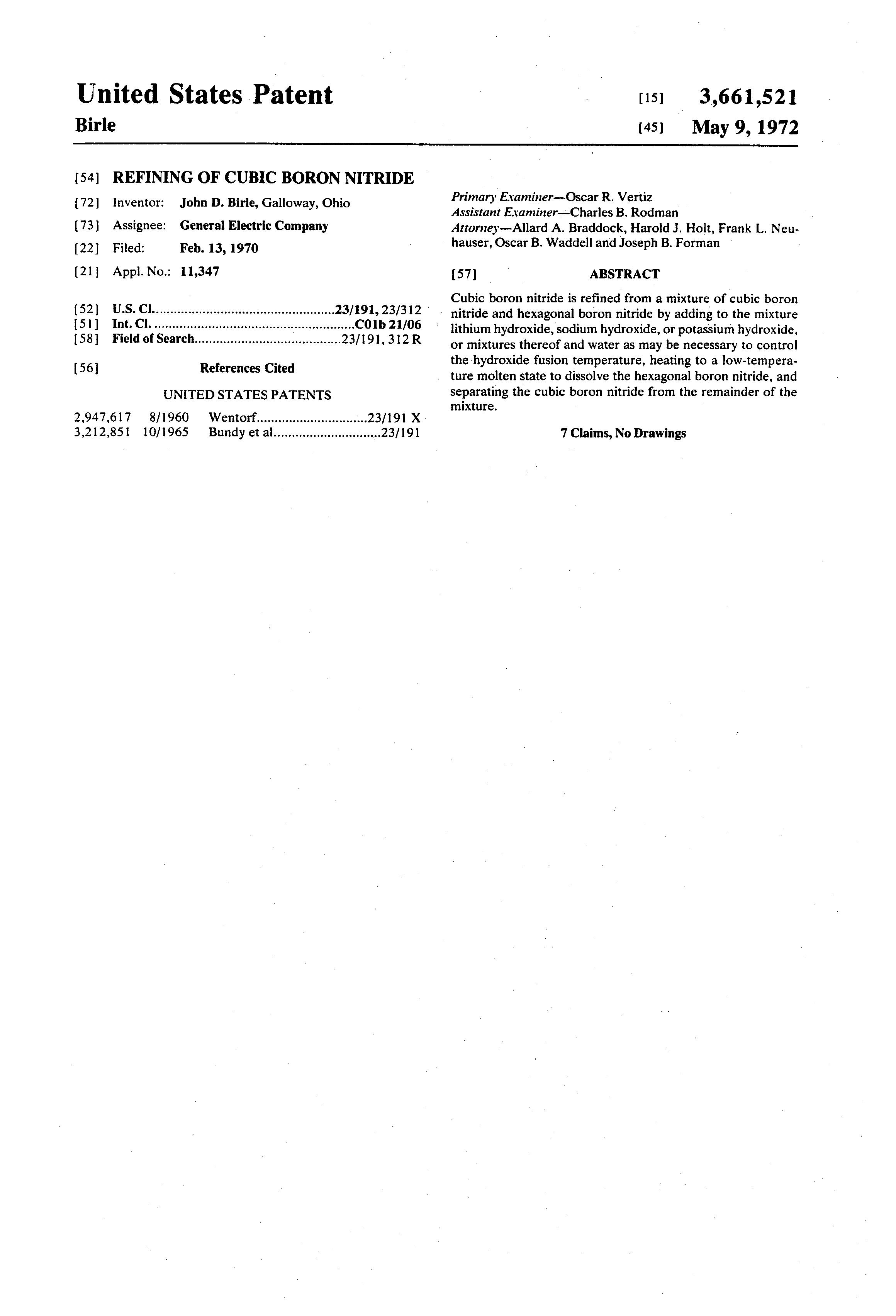 Brevet US3661521 - Refining of cubic boron nitride - Google Brevets
