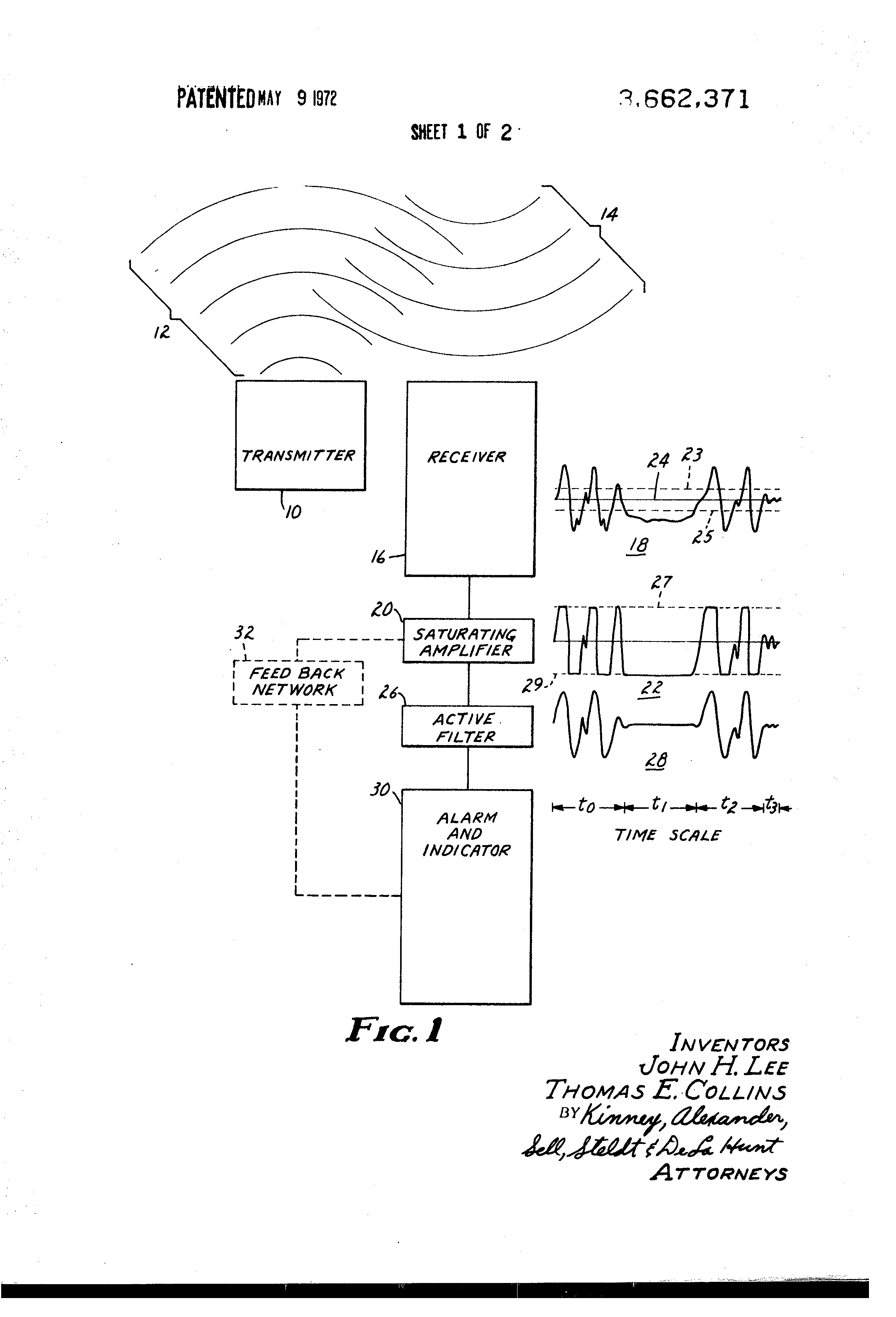 Patent Us3662371 Ultrasonic Intrusion Detection System Signal 40khz Second Transmitting Circuit The Transistors Drawing