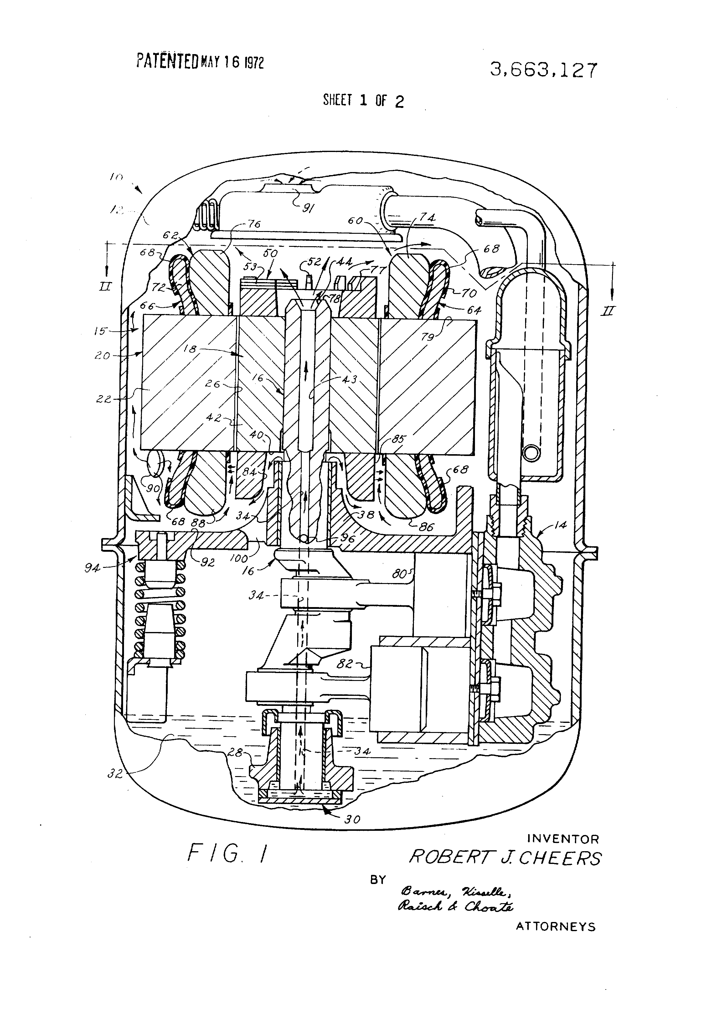 patent us3663127 - hermetic compressor oil cooling system