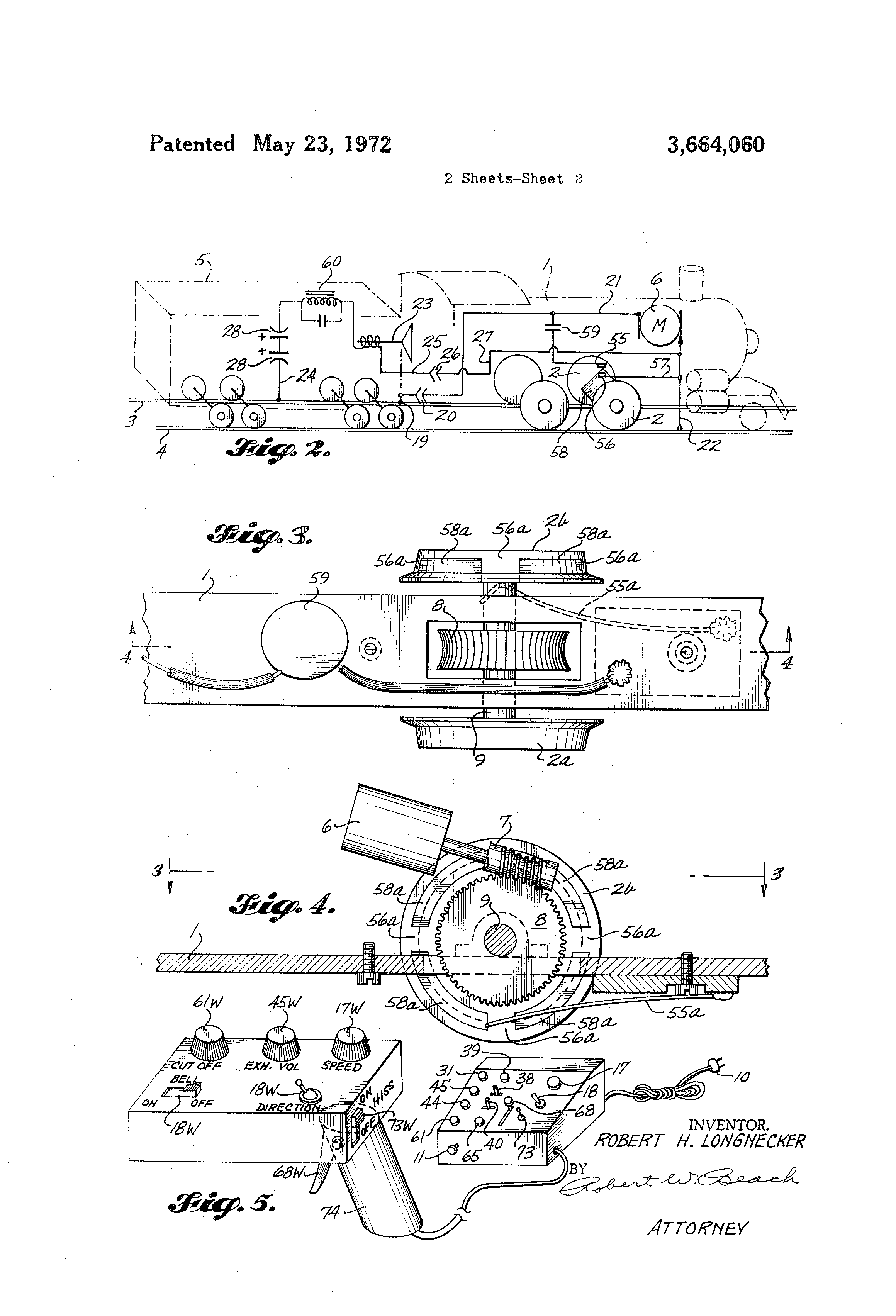 US3664060 2 patent us3664060 model railroad electric locomotive sound system  at n-0.co