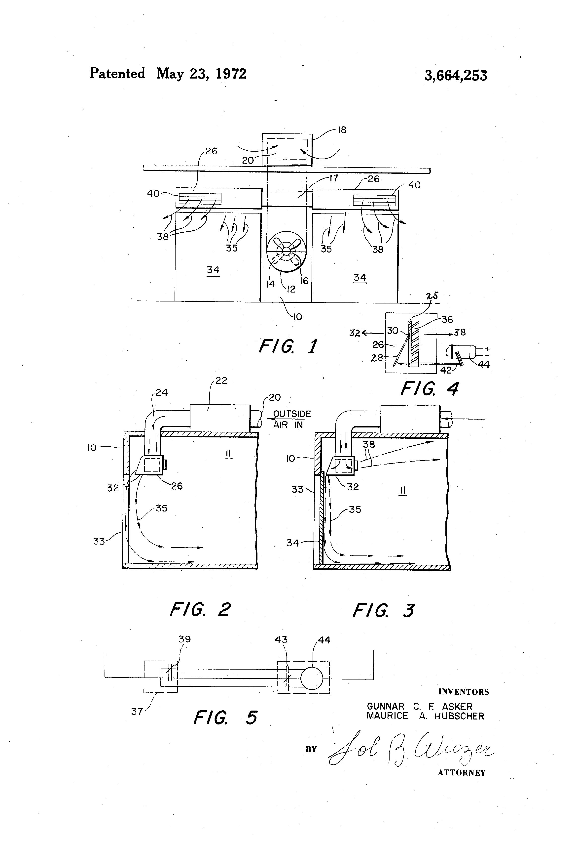 Patent Us3664253 Conditioned Air Distribution System Google Patents Tyler Refrigeration Wiring Diagrams Drawing