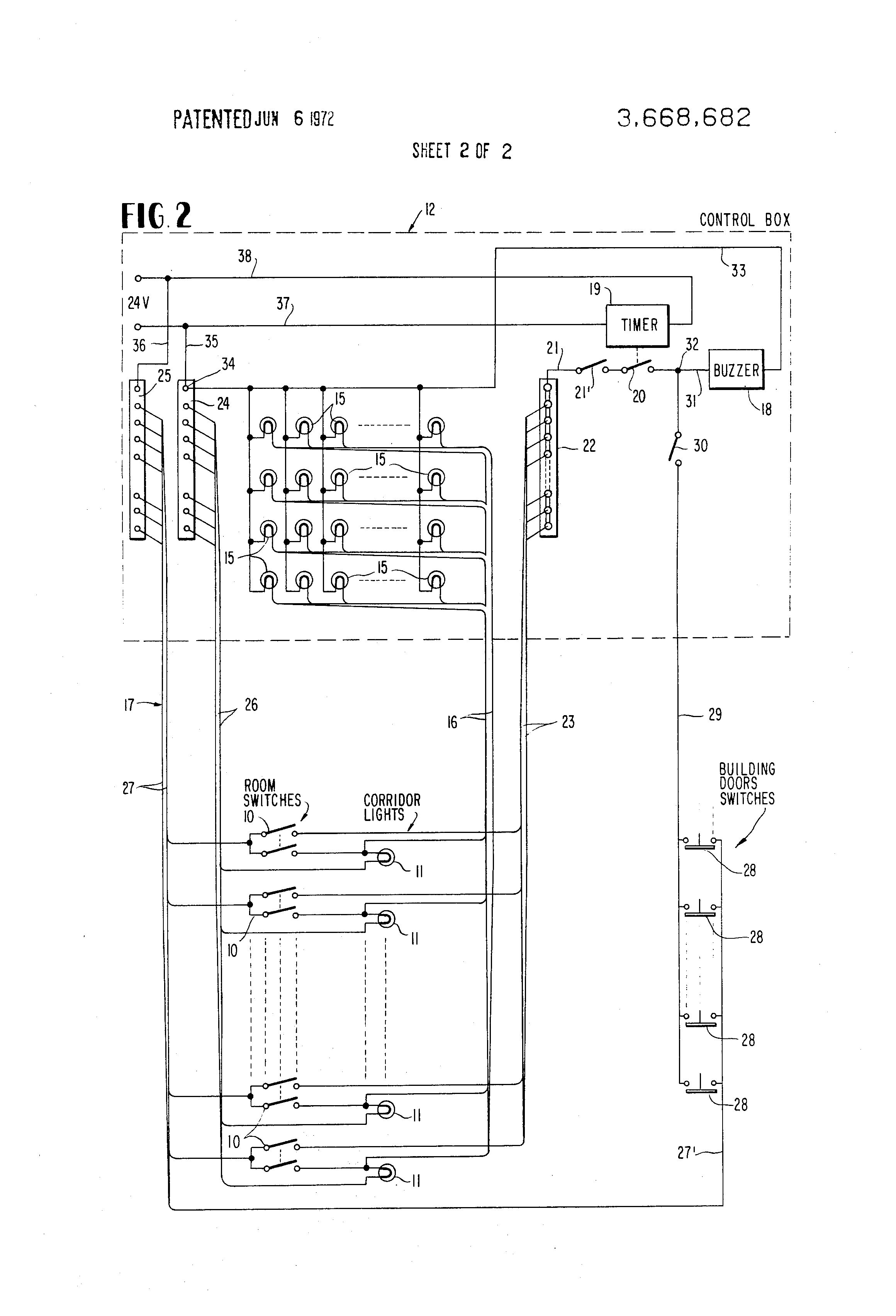 Corridor Lighting Wiring Diagram 32 Images Dial Dimmer Switch Us3668682 2 Patent Nurse Call And Alarm System For Nursing Homes