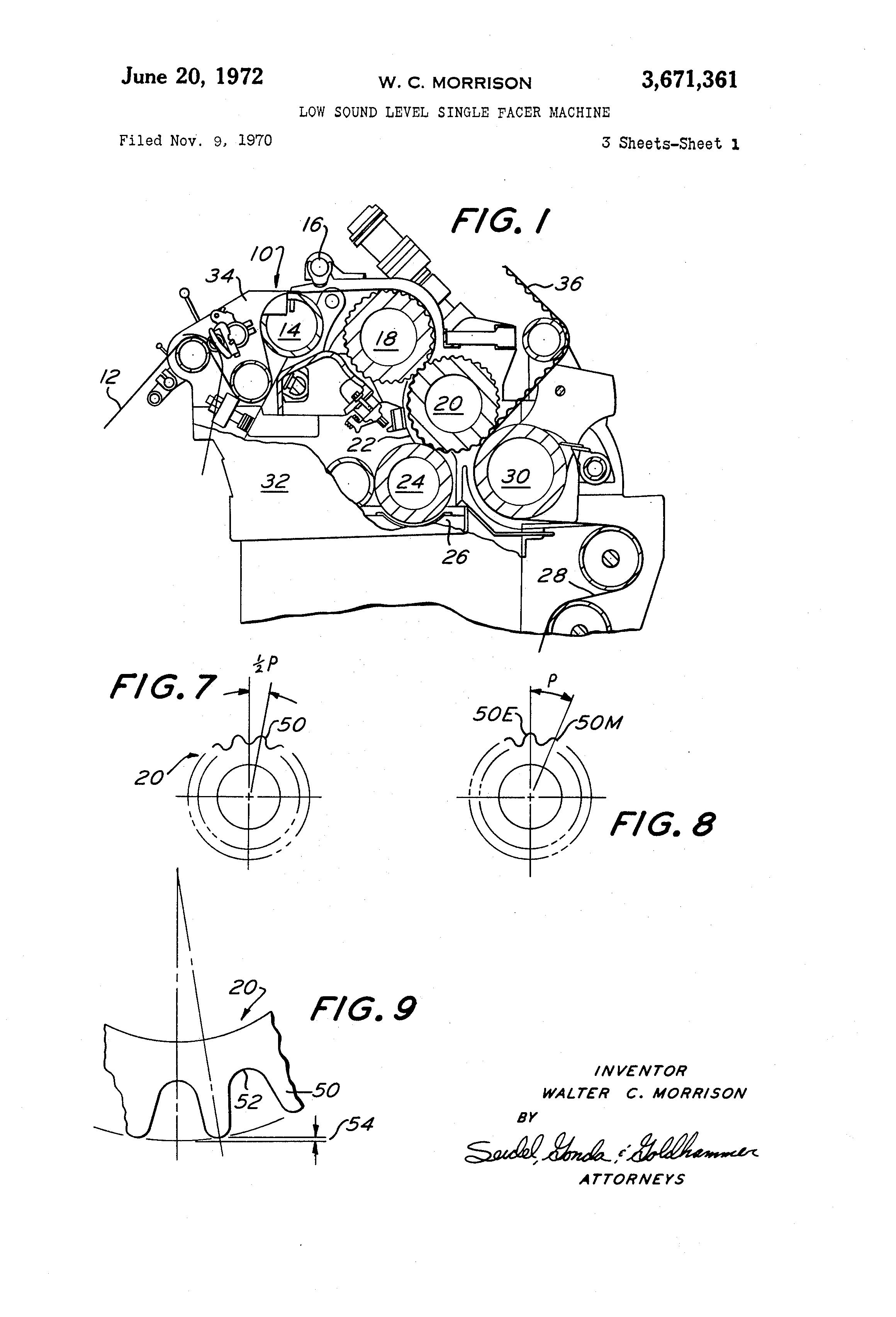 Patent US3671361 - Low sound level single facer machine