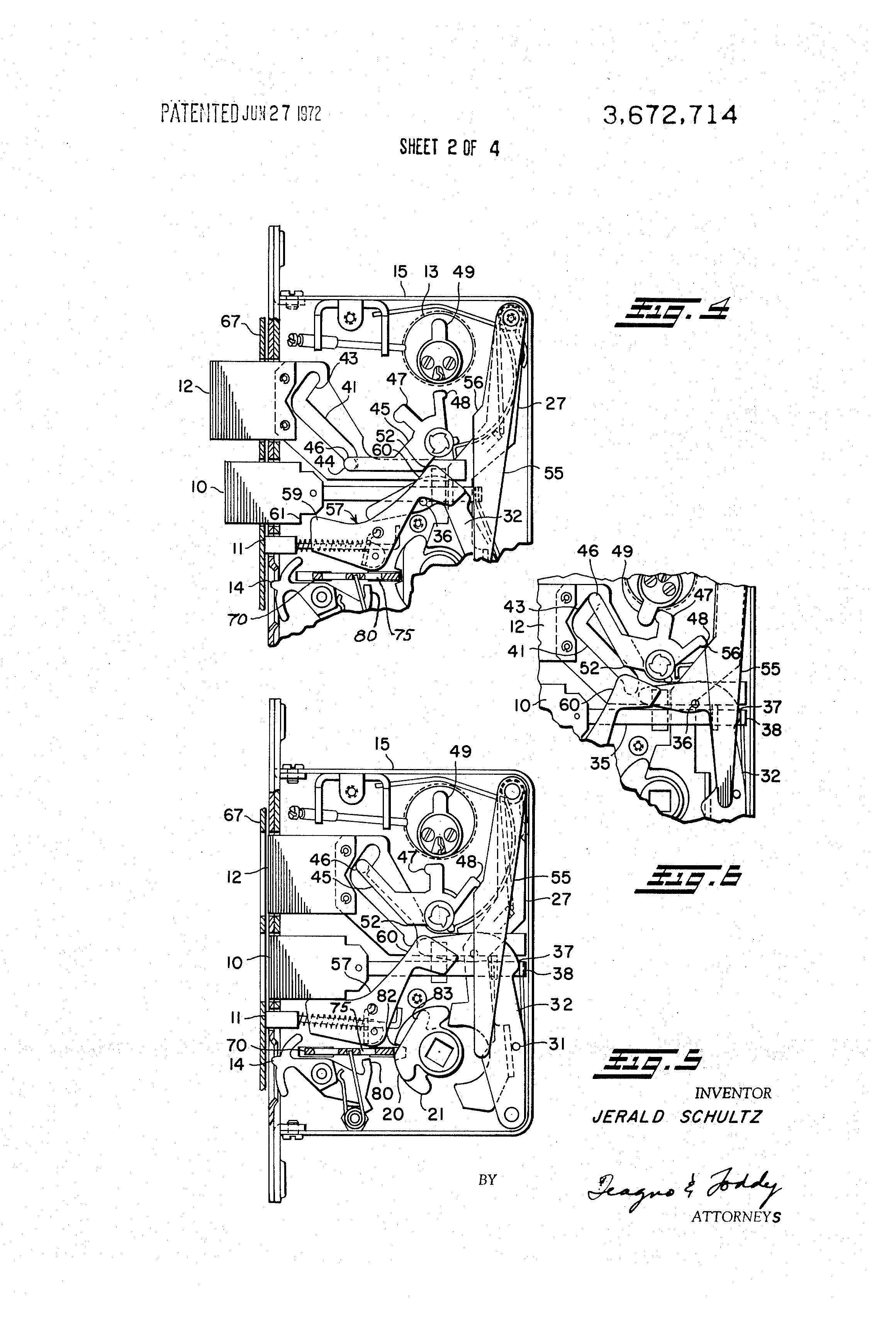Patent Us3672714 Mortise Lock With Multiple Functions