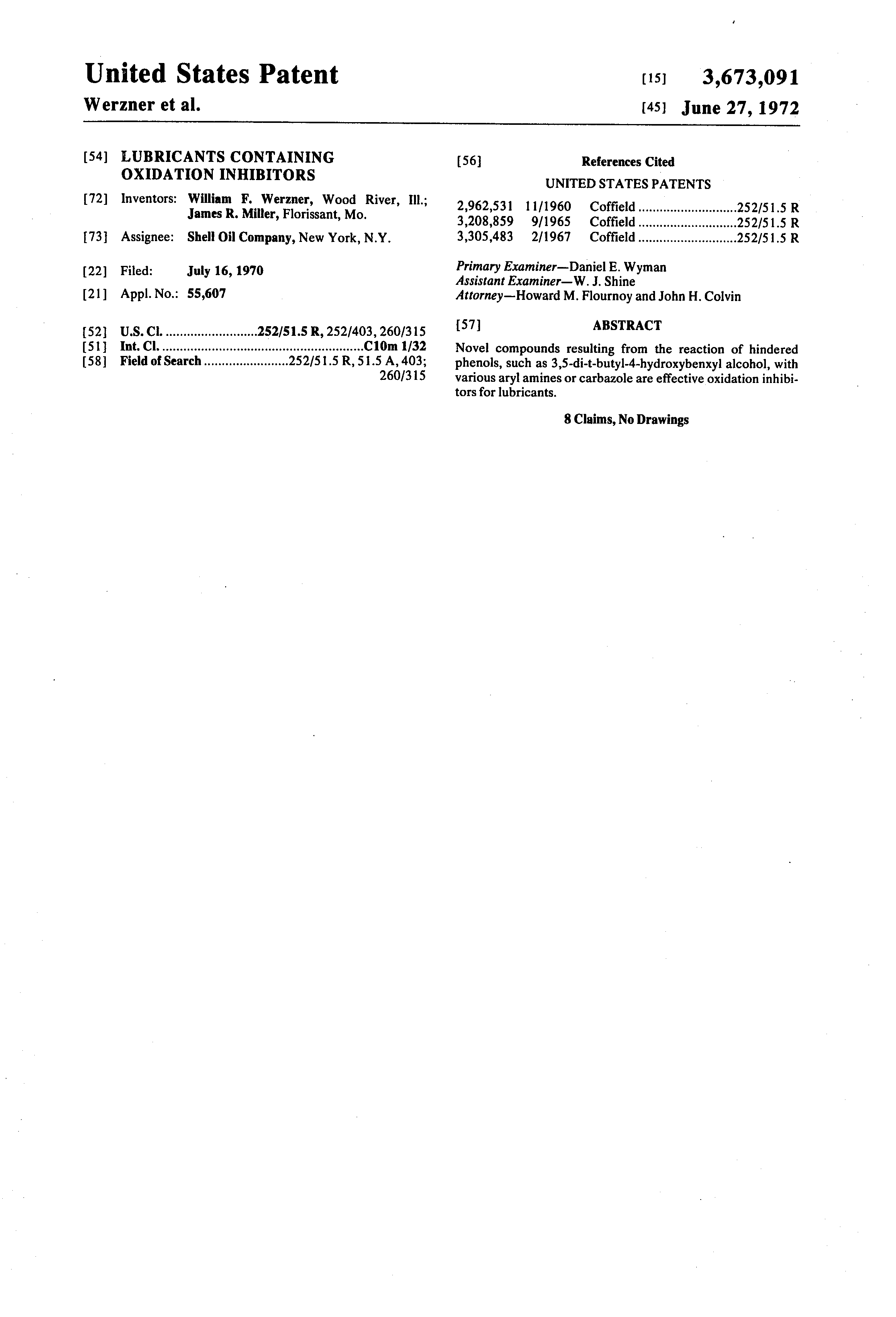 Patent US3673091 - Lubricants containing oxidation inhibitors