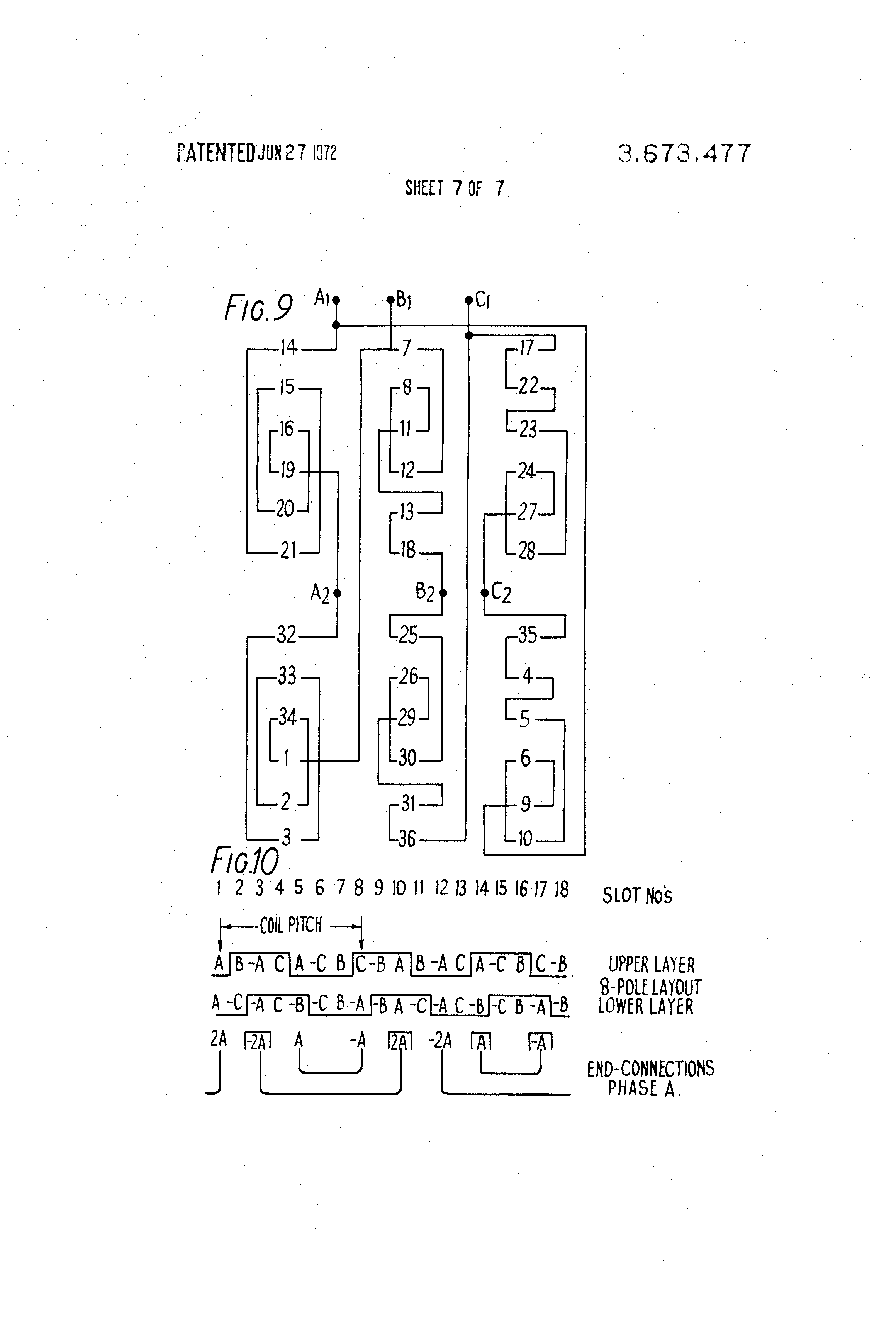 patent us3673477 pole changing three phase alternating current patent drawing