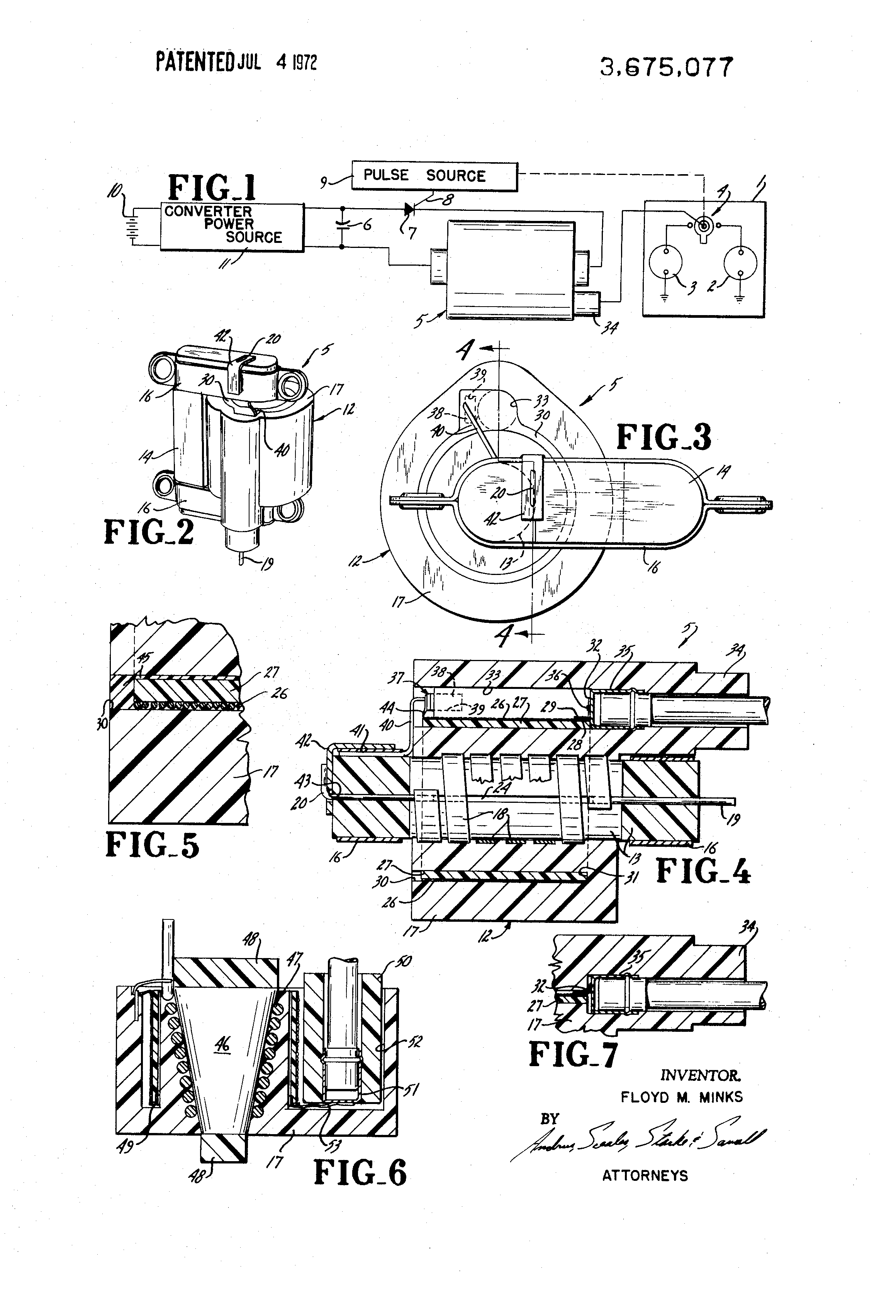 patent us3675077 high voltage ignition system transformer 36 Inch Bathroom Vanitiy patent drawing