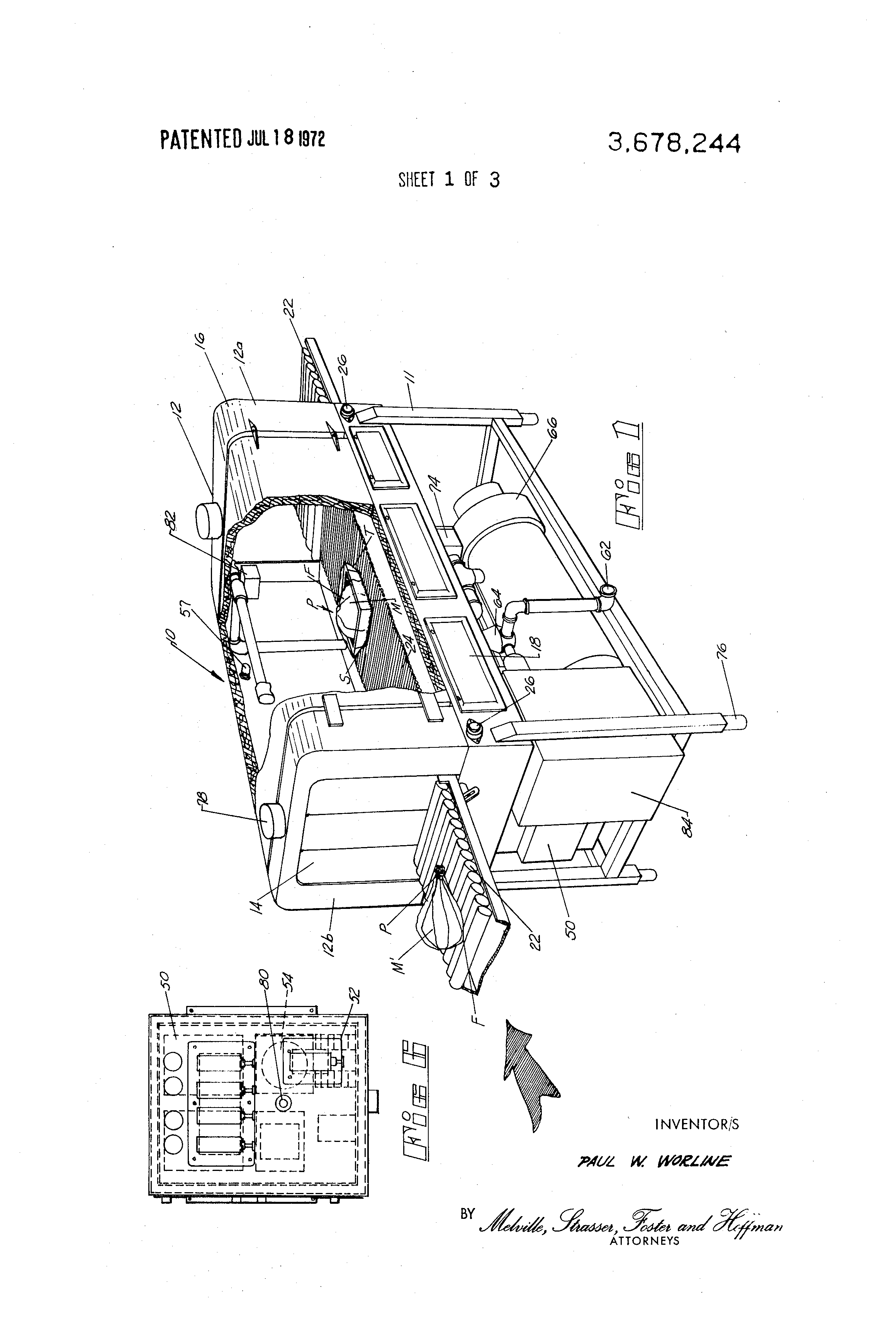 patent us3678244 film shrinking tunnel utilizing hot air and patent drawing