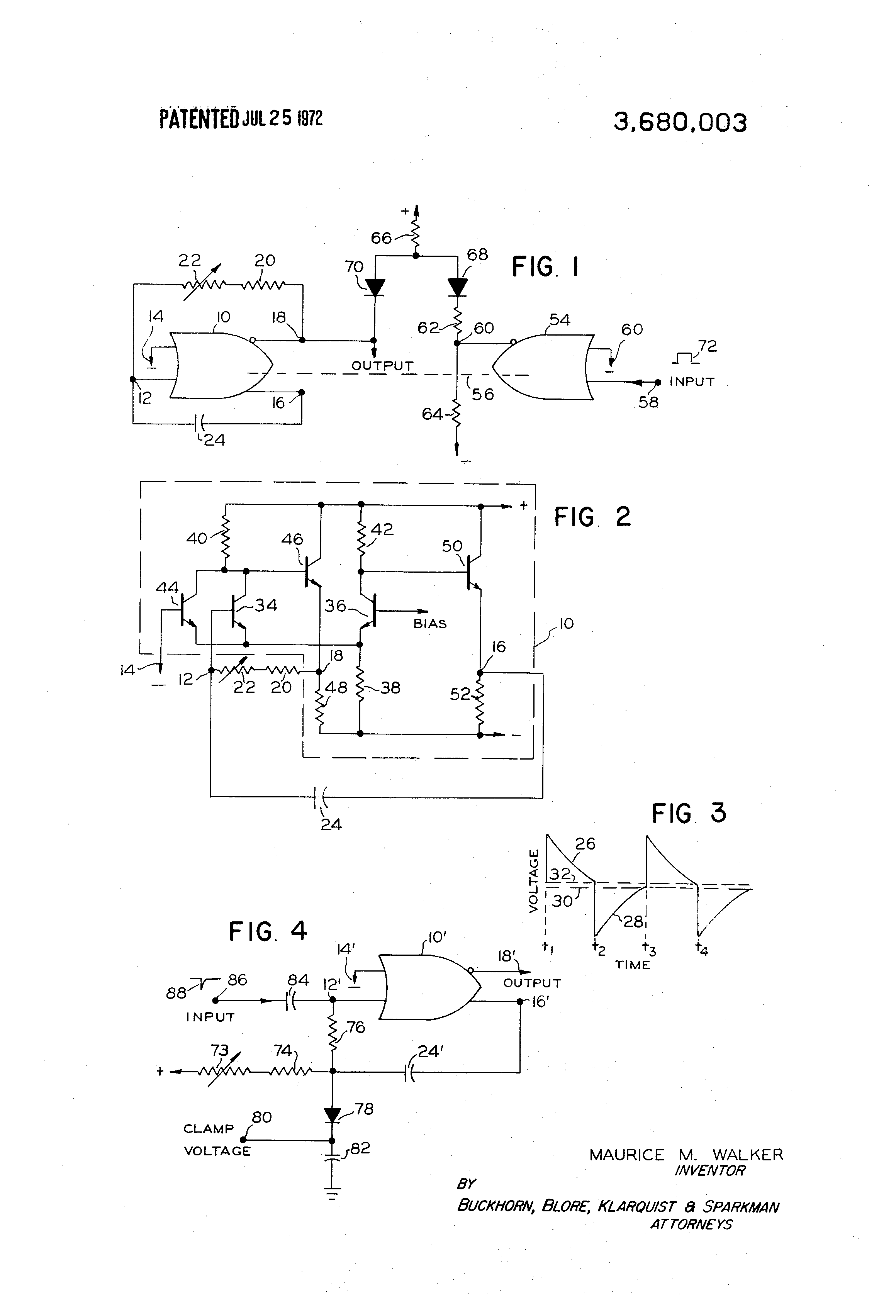 Patent Us3680003 Multivibrator Circuits Employing Or Nor Gates Circuit Diagram For Gate Drawing