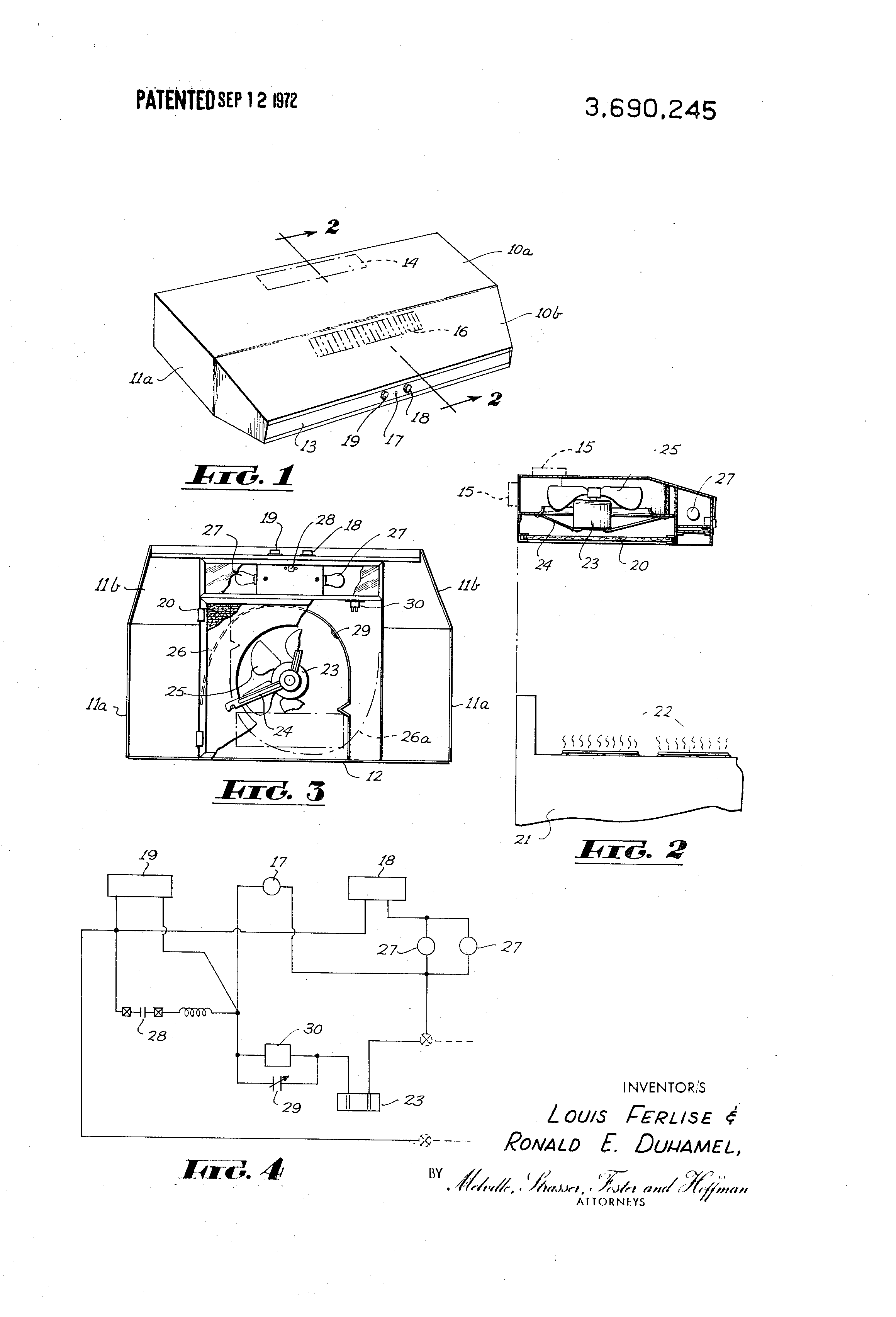 US3690245 1 patent us3690245 range hood unit with fire safeguard fan control Vent a Hood Wiring Diagram at alyssarenee.co