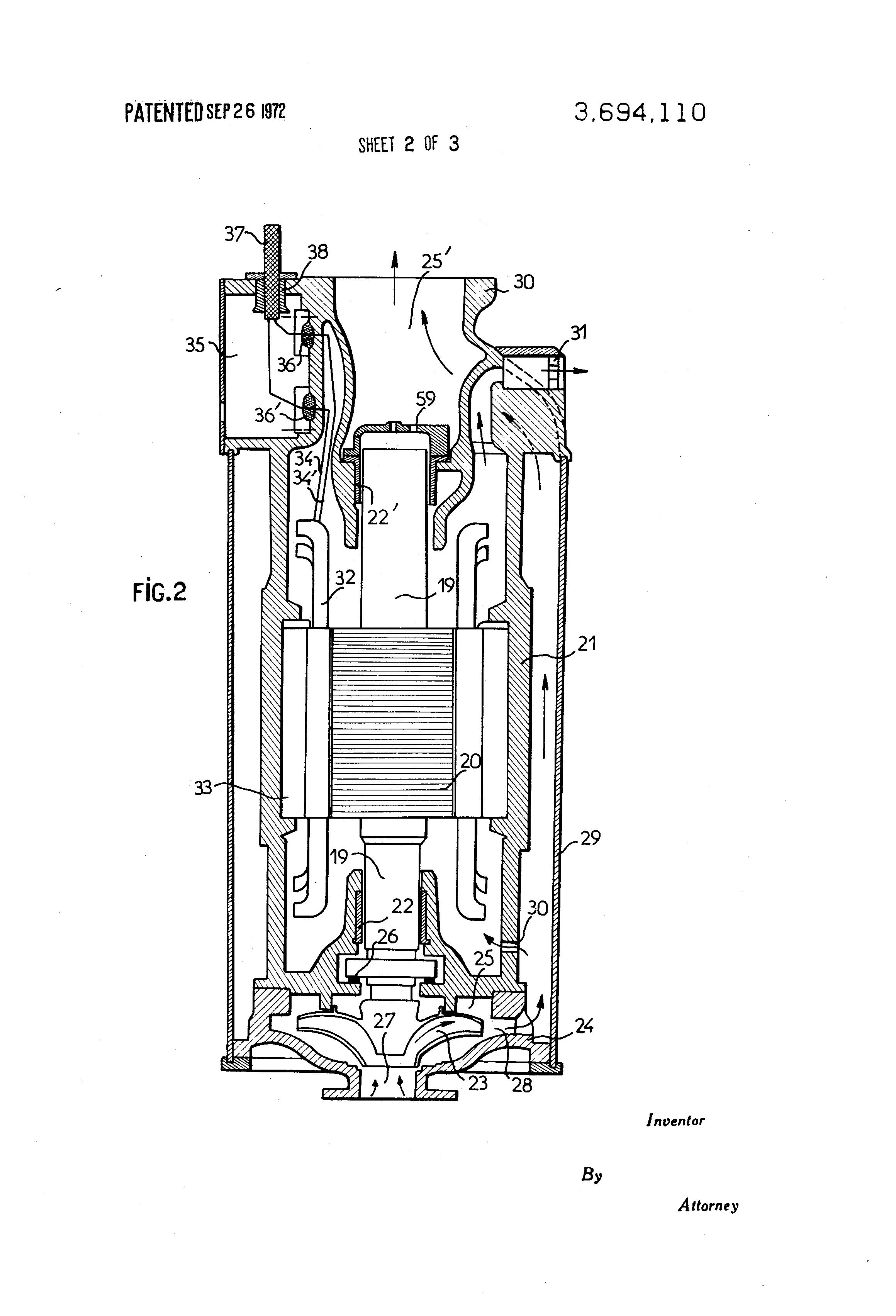 Patent Us3694110 Immersible Electric Pump Arrangements Google L24 Engine Diagram Drawing