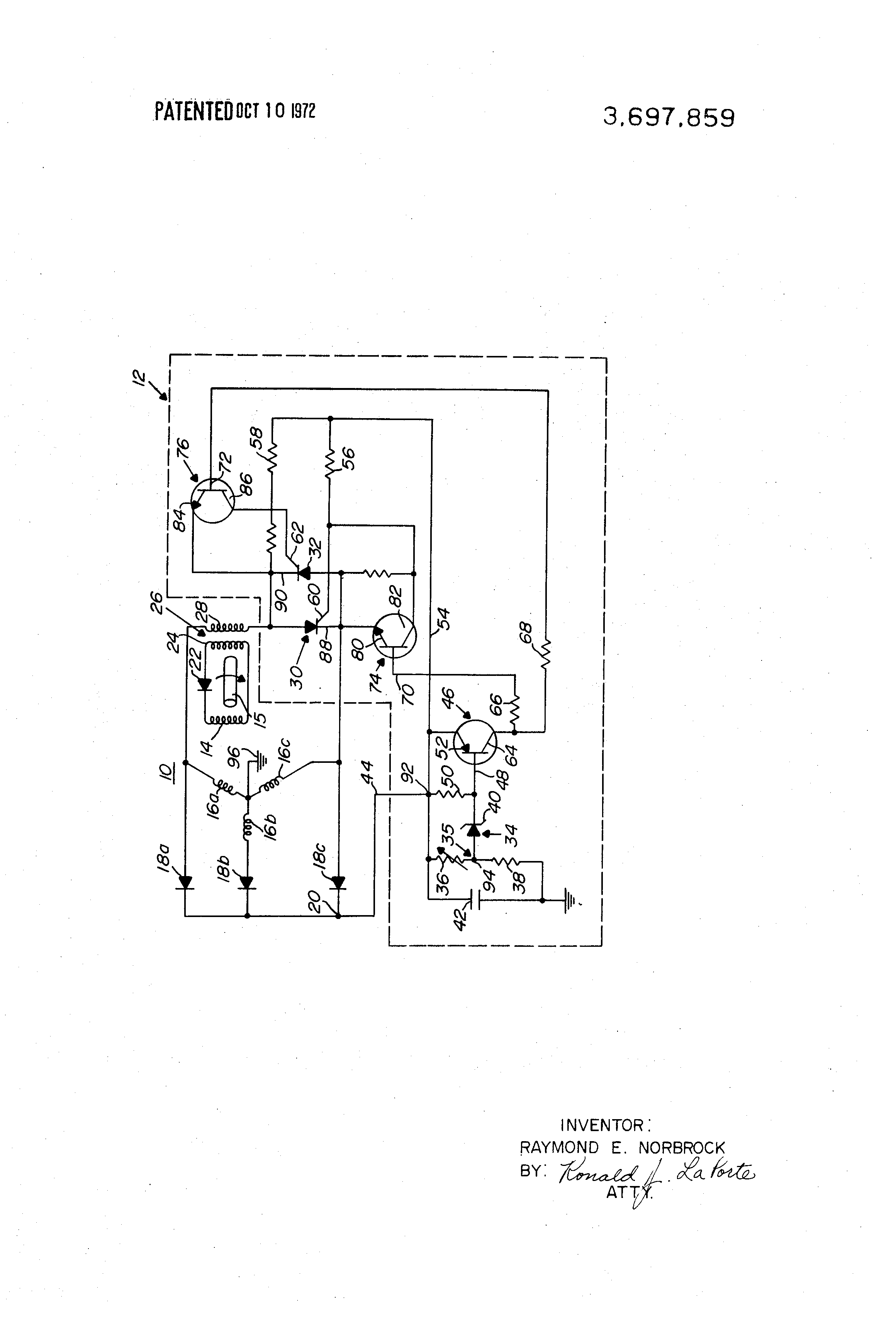 US3697859 1 patent us3697859 voltage regulator circuit for a brushless Ford Voltage Regulator Wiring at creativeand.co