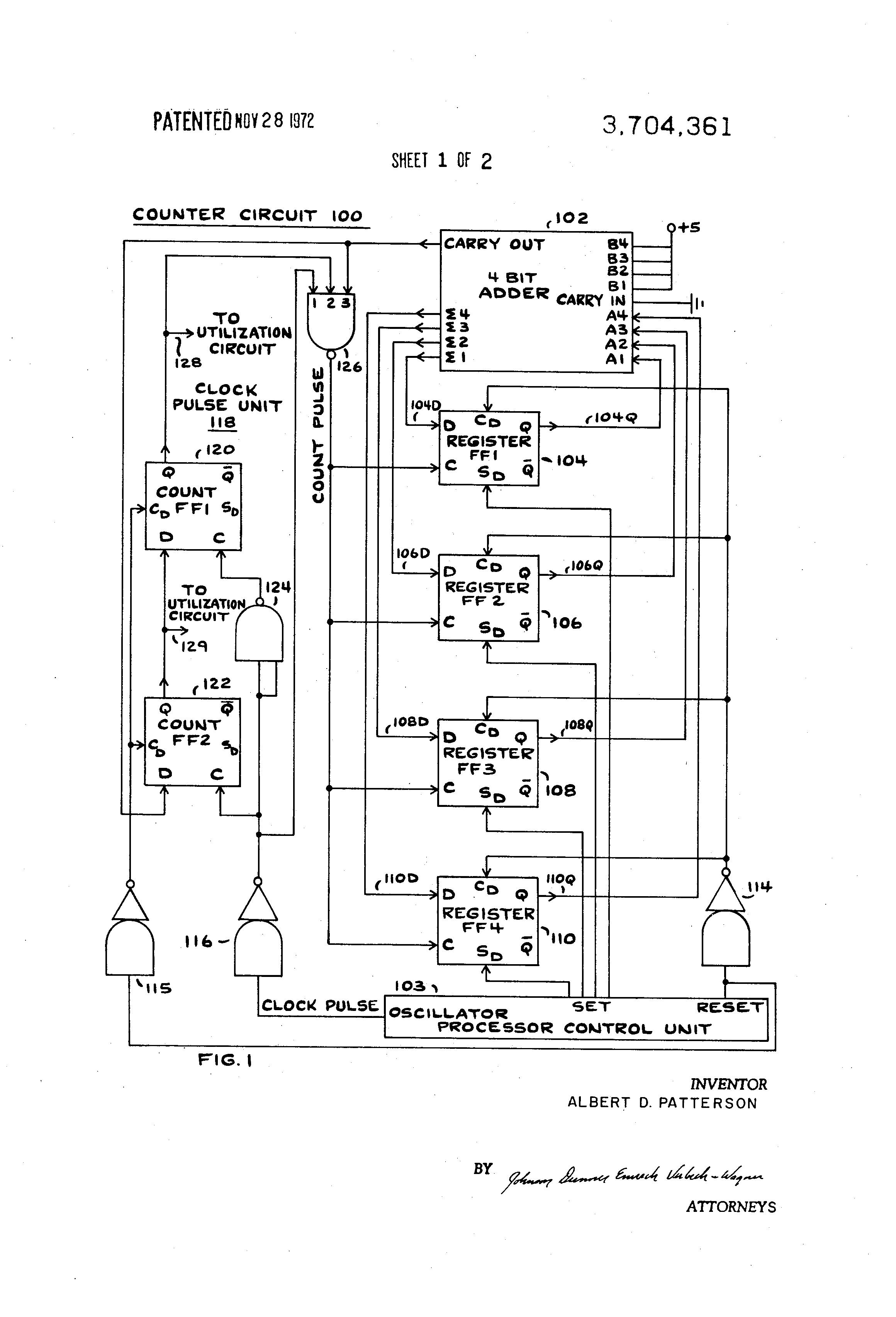 patent us3704361  down counter