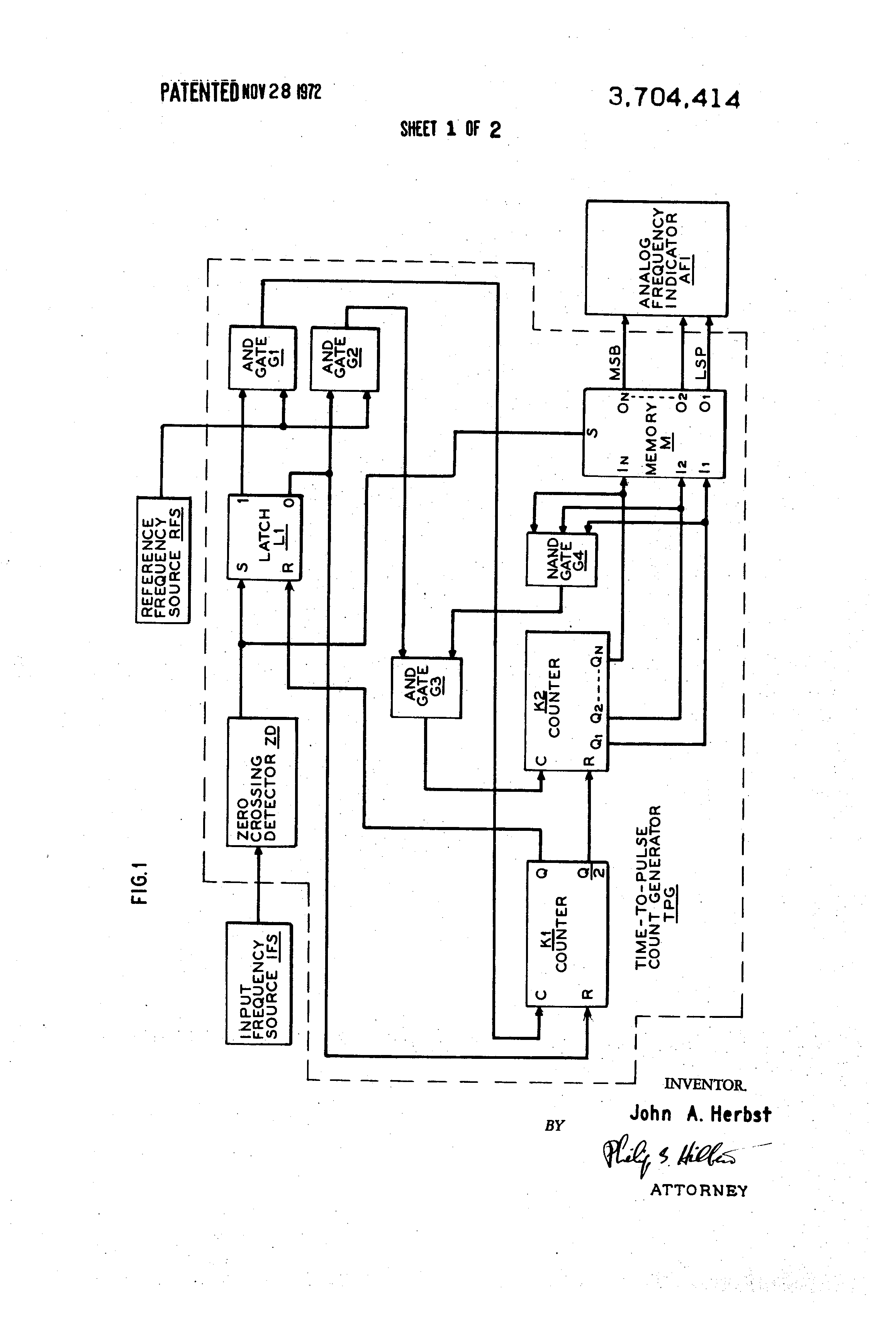 Patent Us3704414 Frequency Meter Google Patents Frequencycounterschematic1 Drawing